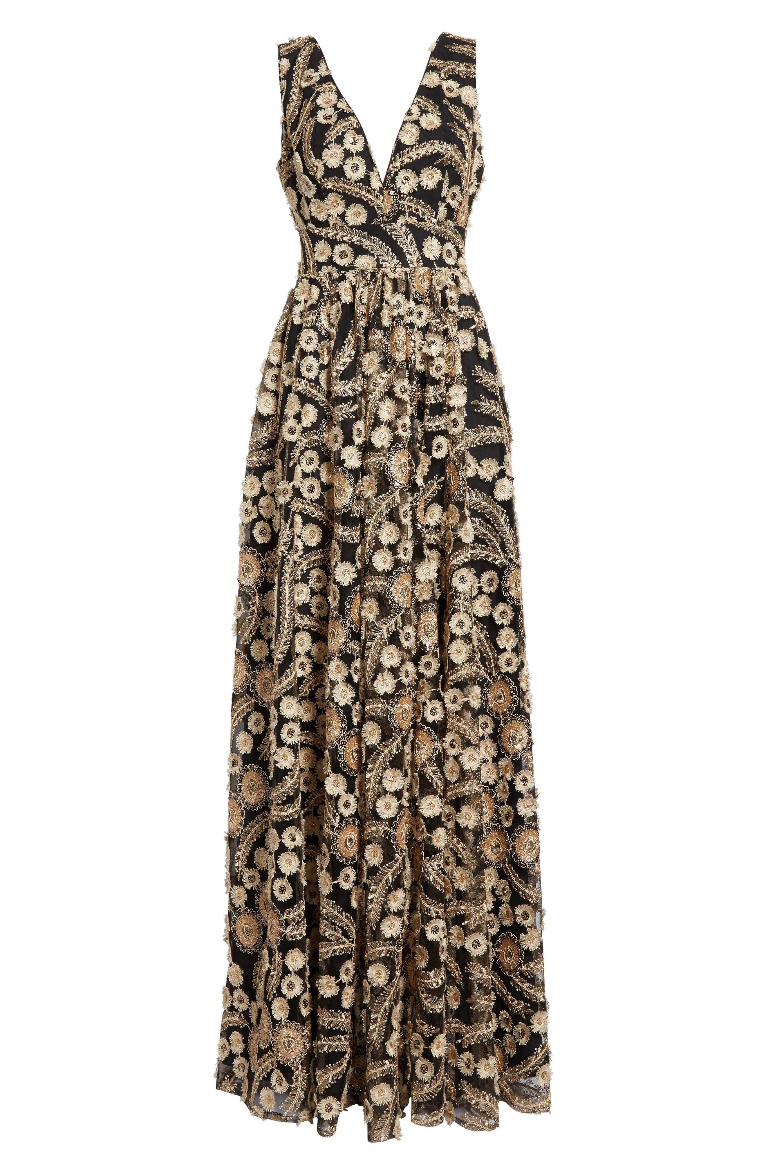 Embellished A-Line Maxi Dress,                             Alternate thumbnail 6, color,                             001