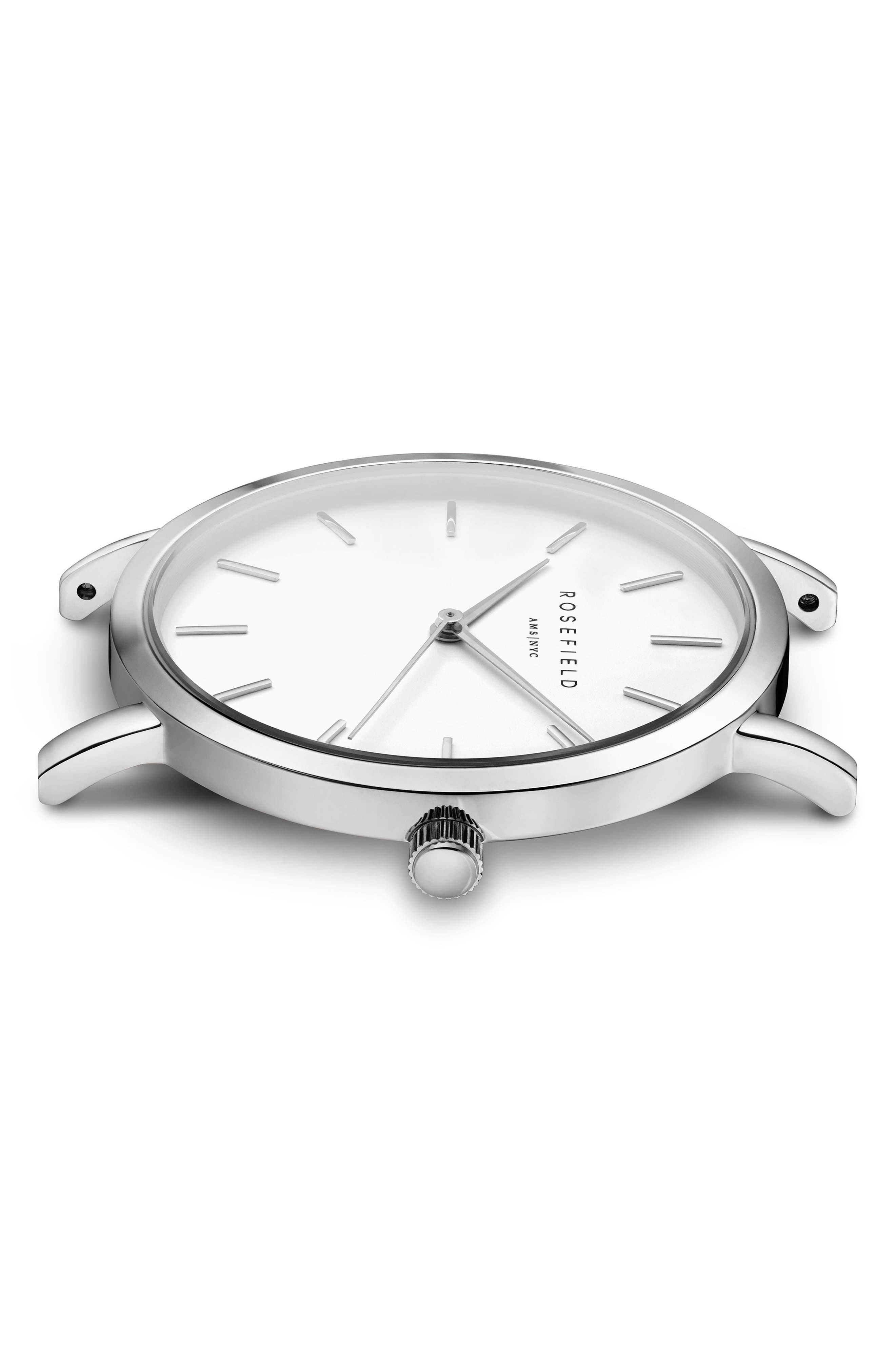 Mercer Mesh Strap Watch, 38mm,                             Alternate thumbnail 3, color,                             SILVER/ WHITE/ SILVER