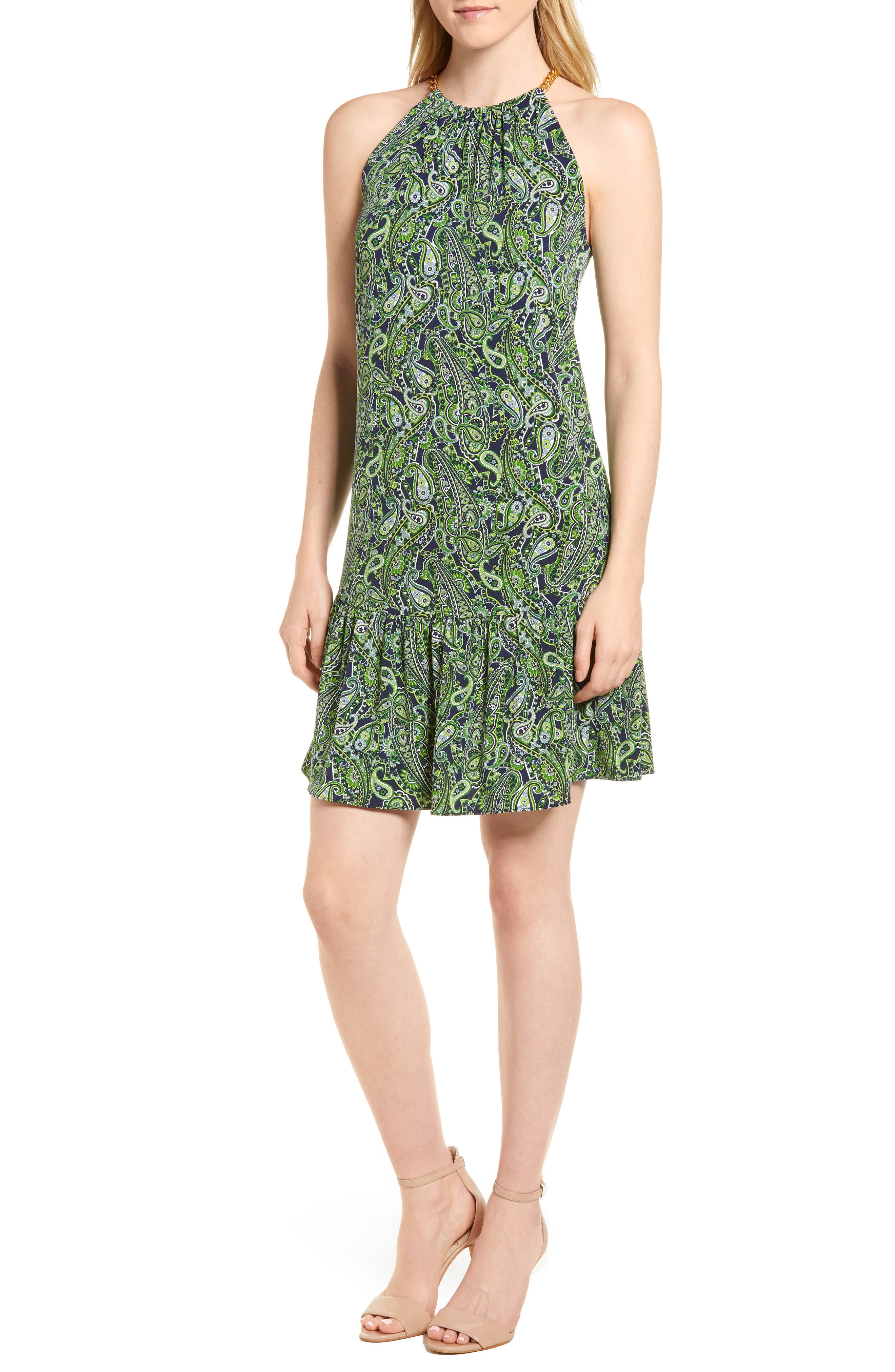 Paisley Paradise Drop Waist Dress,                             Main thumbnail 1, color,                             362