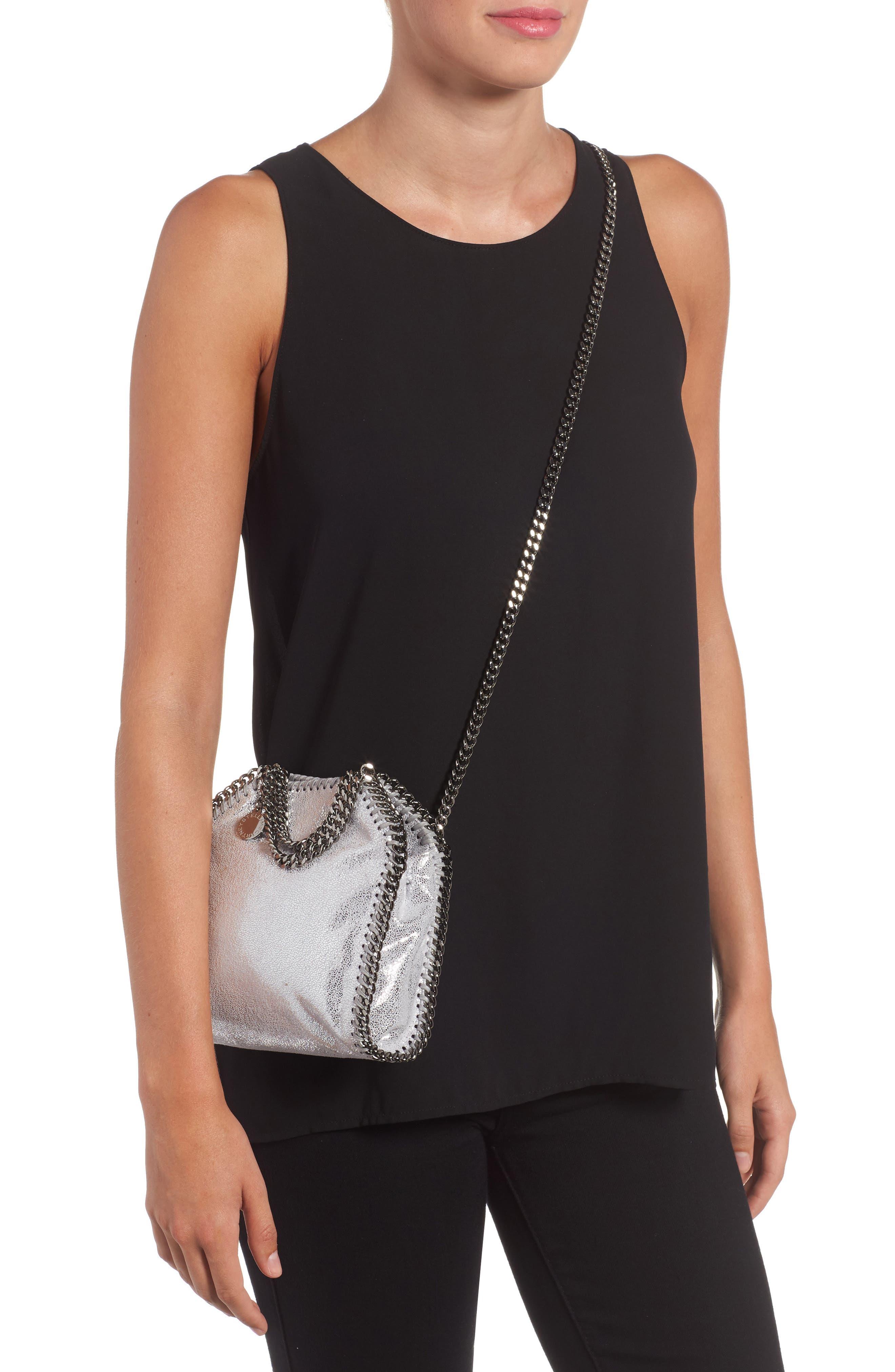 'Tiny Falabella' Metallic Faux Leather Crossbody Bag,                             Alternate thumbnail 2, color,                             045