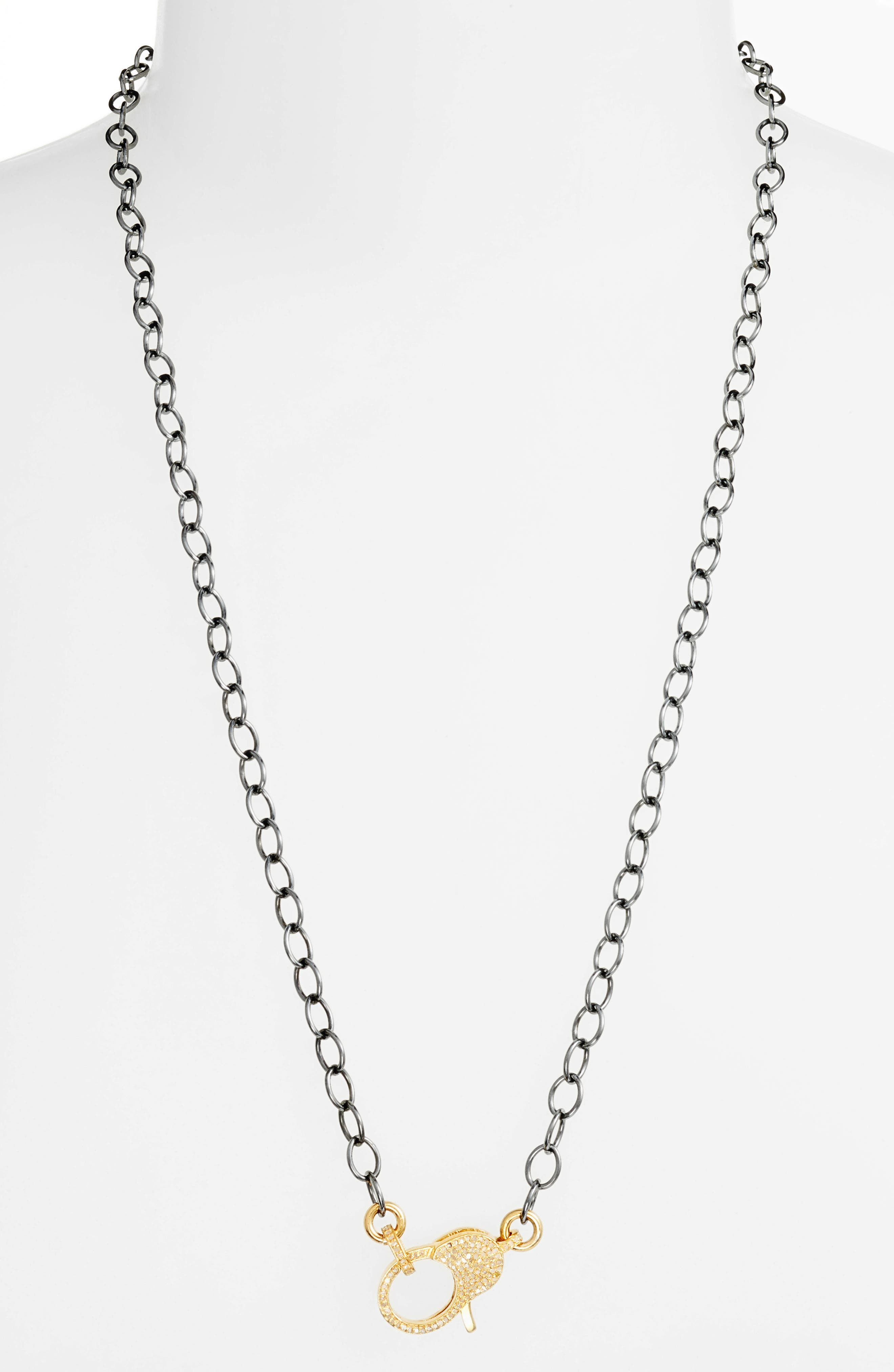 Jane Basch Pavé Diamond Clasp Long Chain Necklace,                             Main thumbnail 1, color,                             GOLD/ BLACK