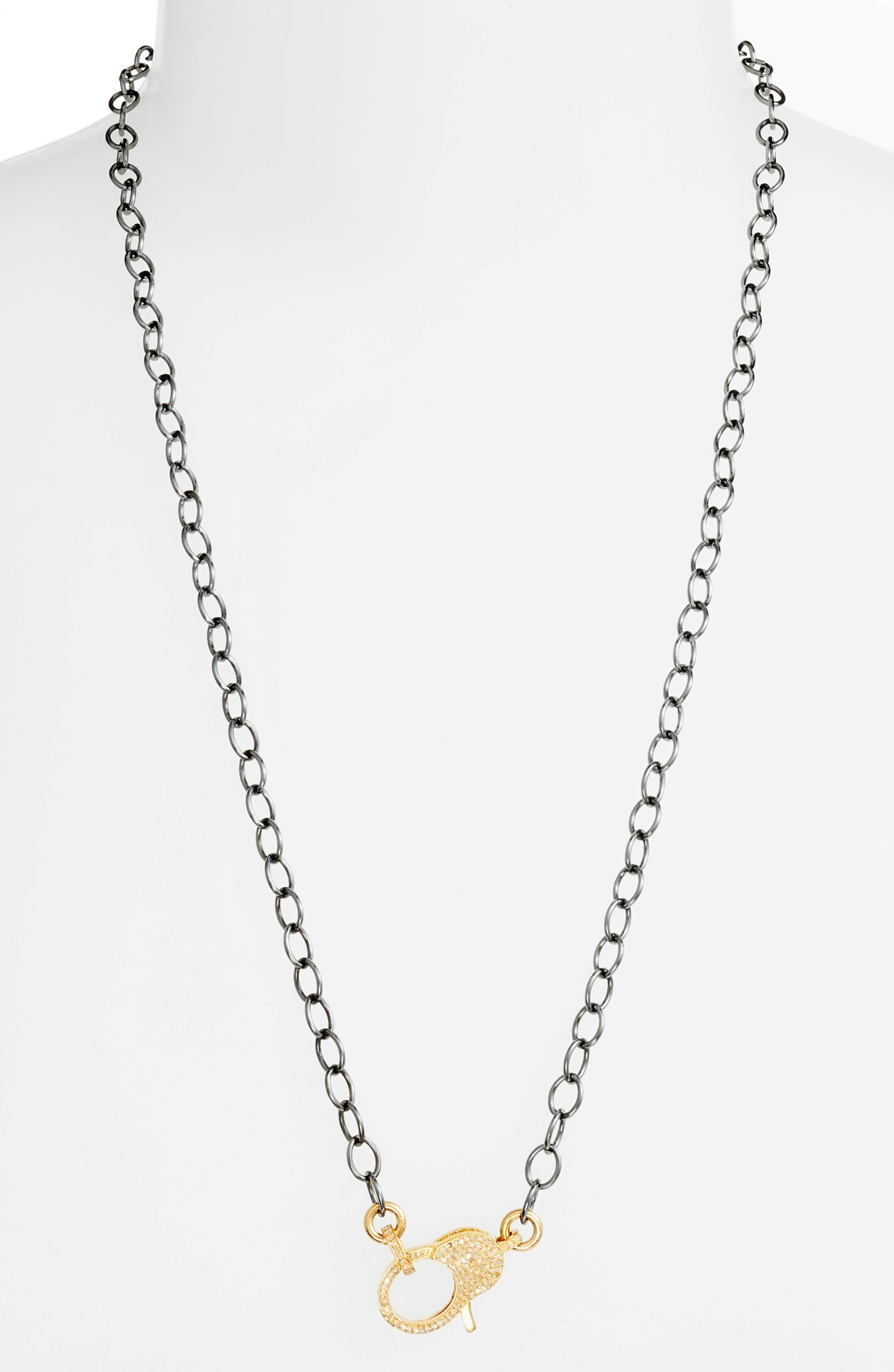 Jane Basch Pavé Diamond Clasp Long Chain Necklace,                         Main,                         color, GOLD/ BLACK
