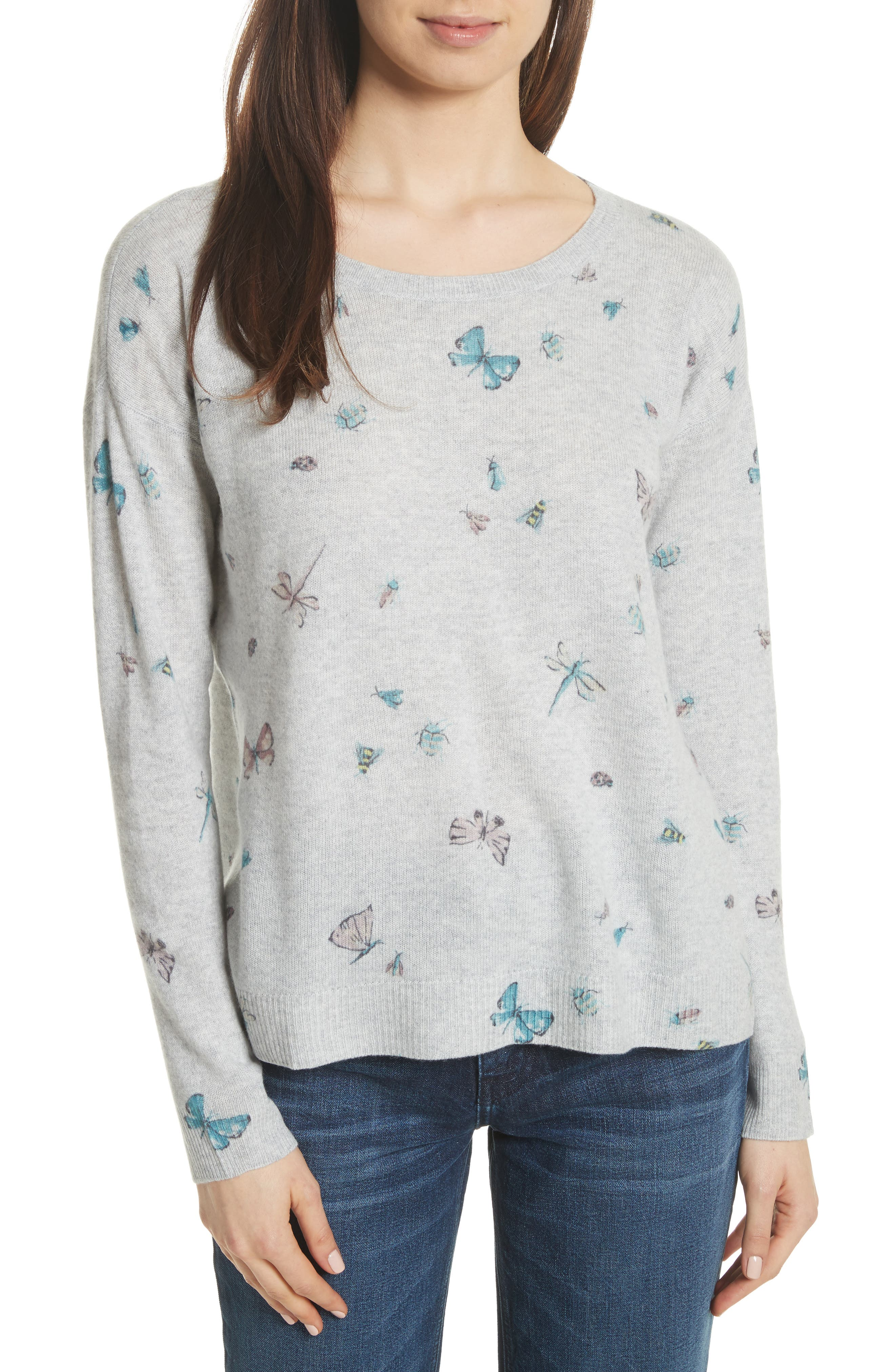 Eloisa Painted Bug Cashmere Top,                             Main thumbnail 1, color,                             033