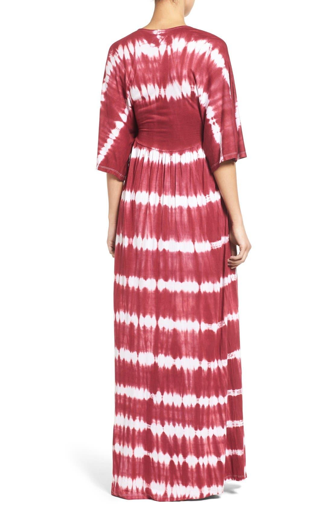 'Dream Shakey' Tie Dye Maternity Maxi Dress,                             Alternate thumbnail 2, color,                             RASPBERRY TIE DYE