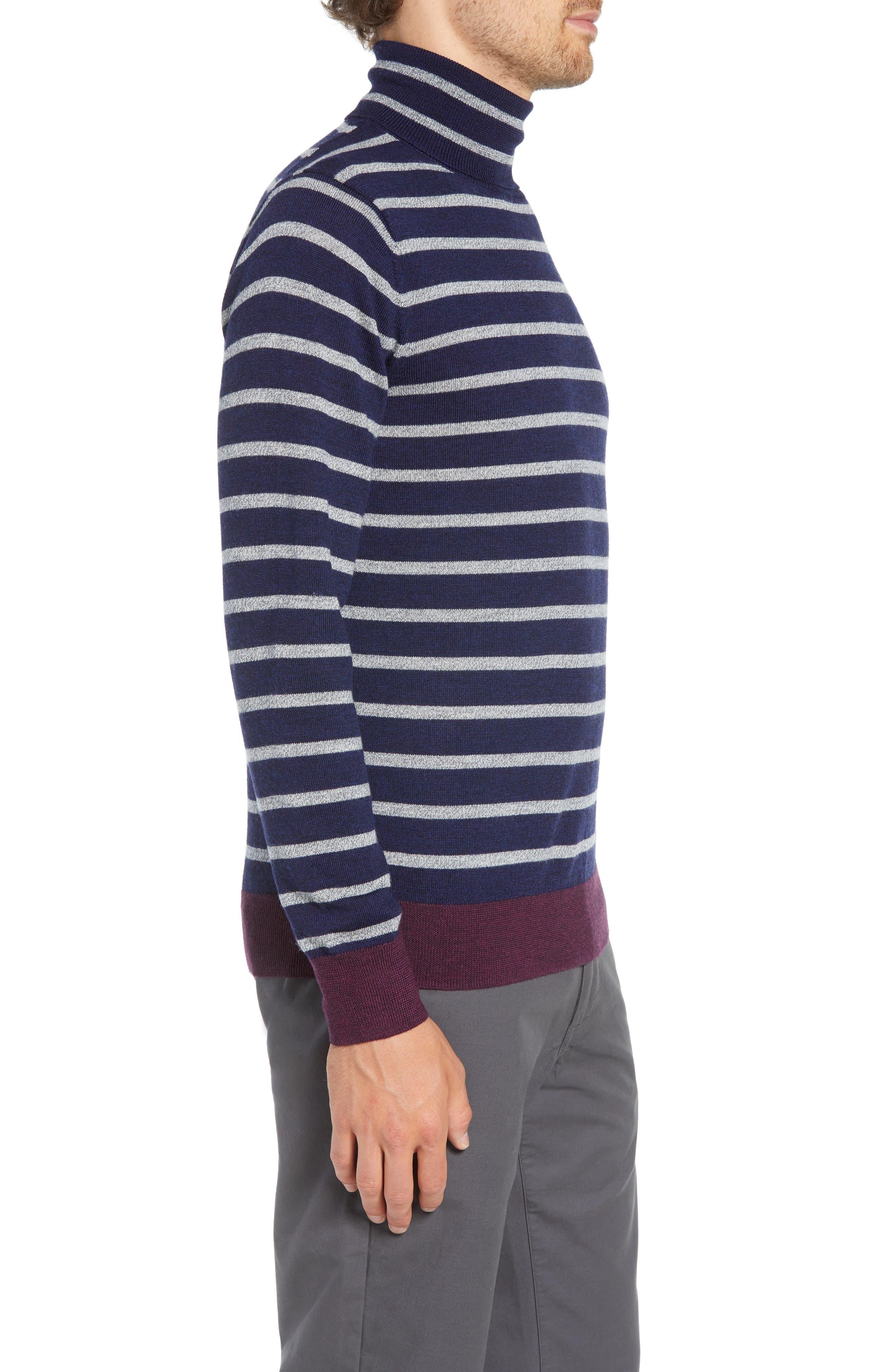 Slim Fit Turtleneck Merino Wool Sweater,                             Alternate thumbnail 3, color,                             HEATHER INK/ COOL GREY