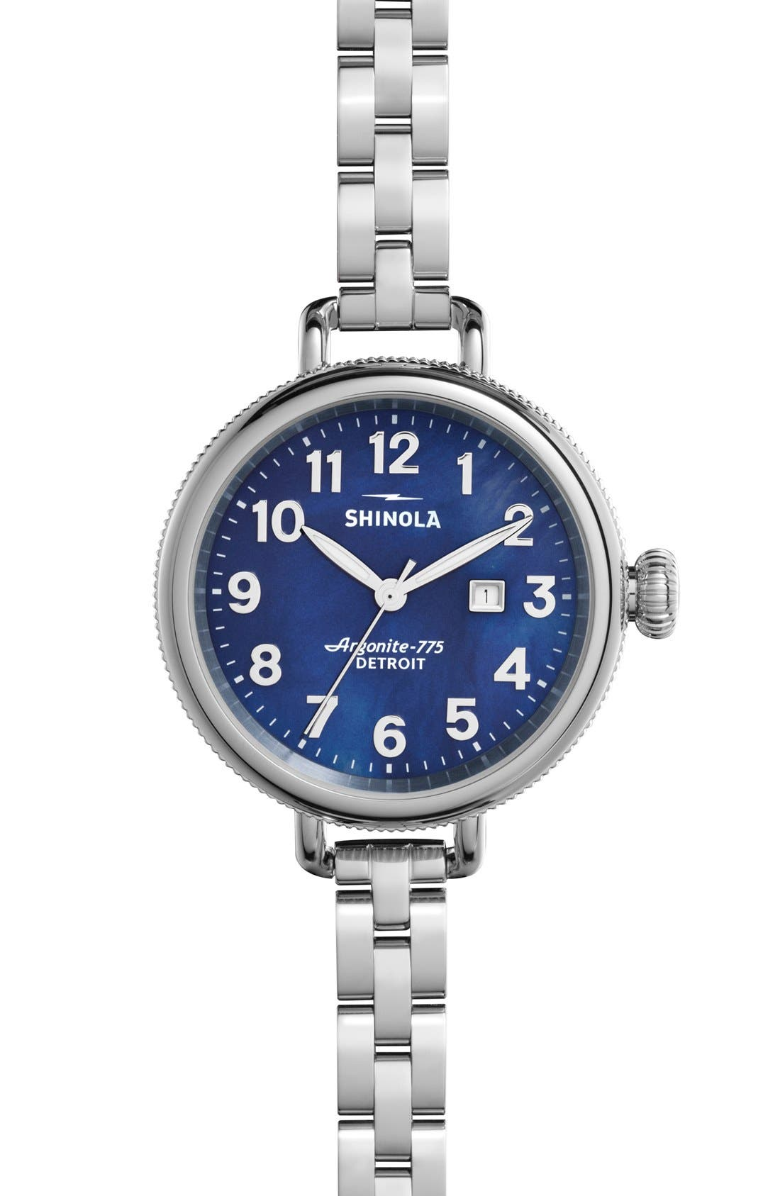 SHINOLA,                             'The Birdy' Bracelet Watch, 34mm,                             Main thumbnail 1, color,                             SILVER/ NAVY MOTHER OF PEARL