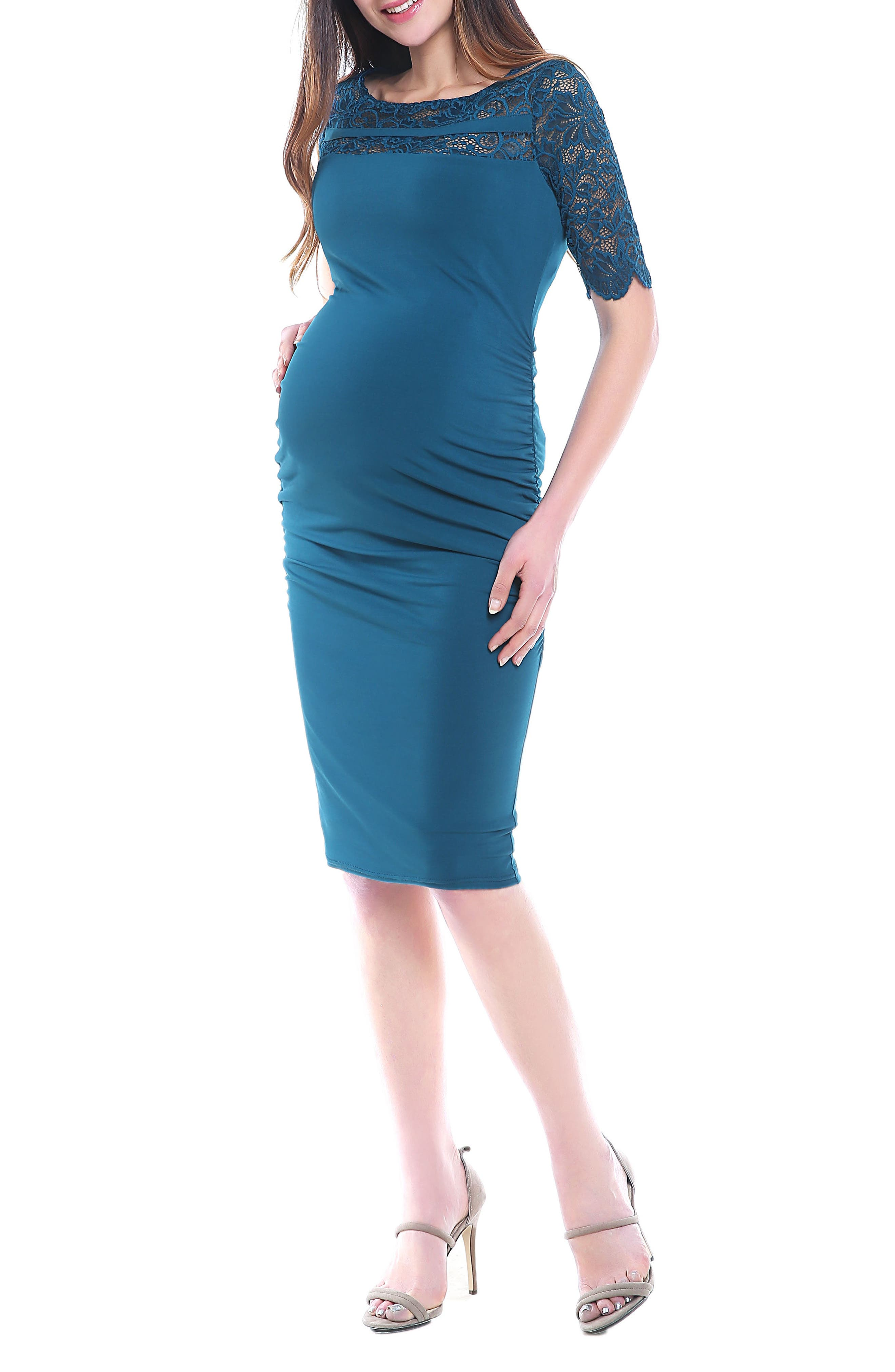 Kimi And Kai Lace Trim Ruched Maternity Dress, Blue