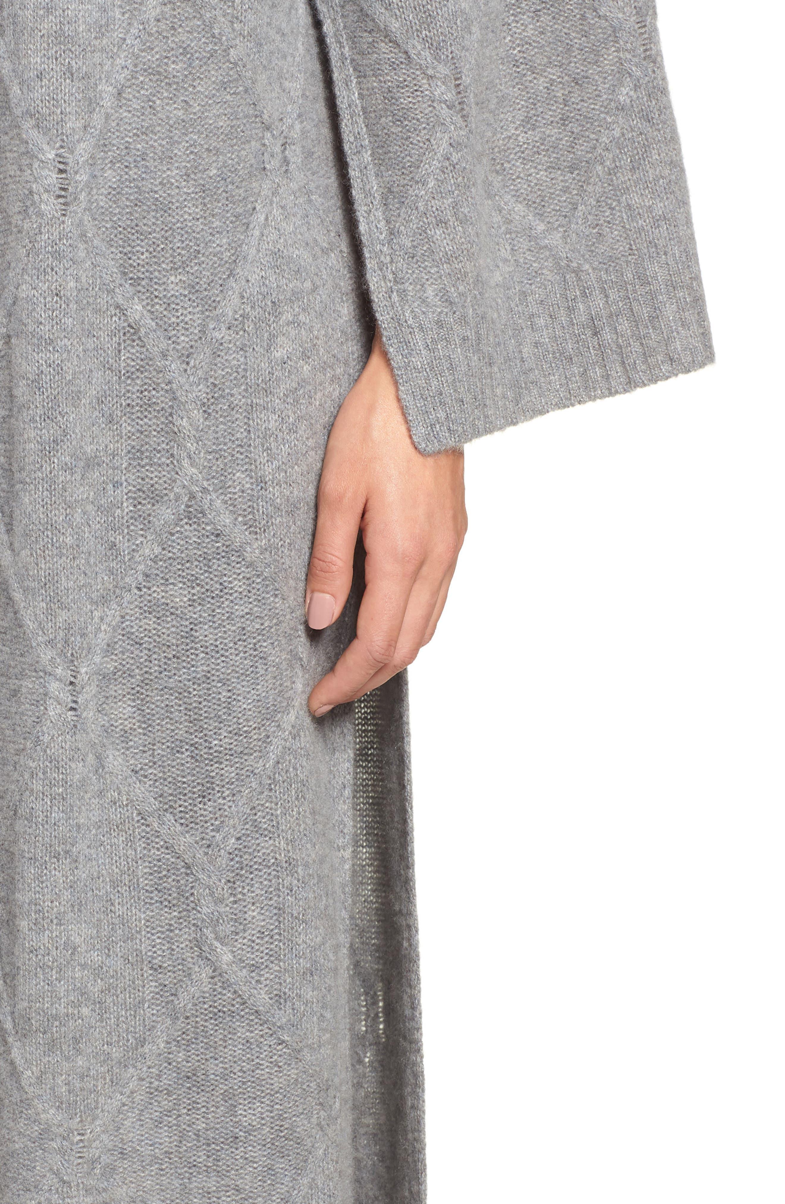 Cable Knit Long Cashmere Cardigan,                             Alternate thumbnail 4, color,                             GREY MEDIUM HEATHER