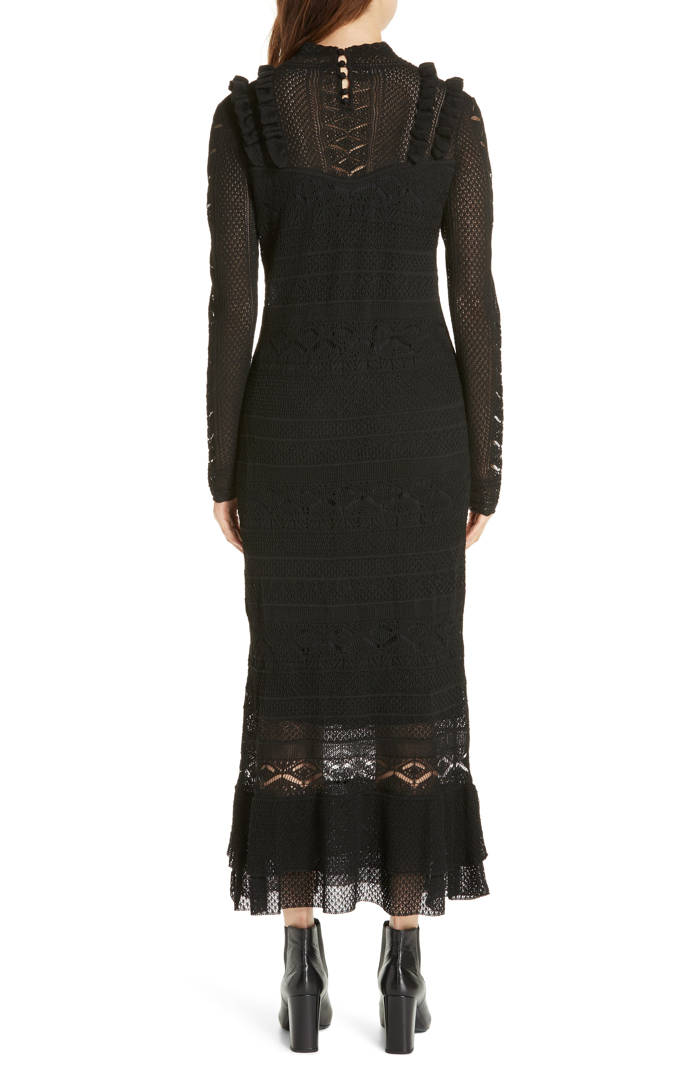 Pointelle Lace Midi Dress,                             Alternate thumbnail 2, color,                             001