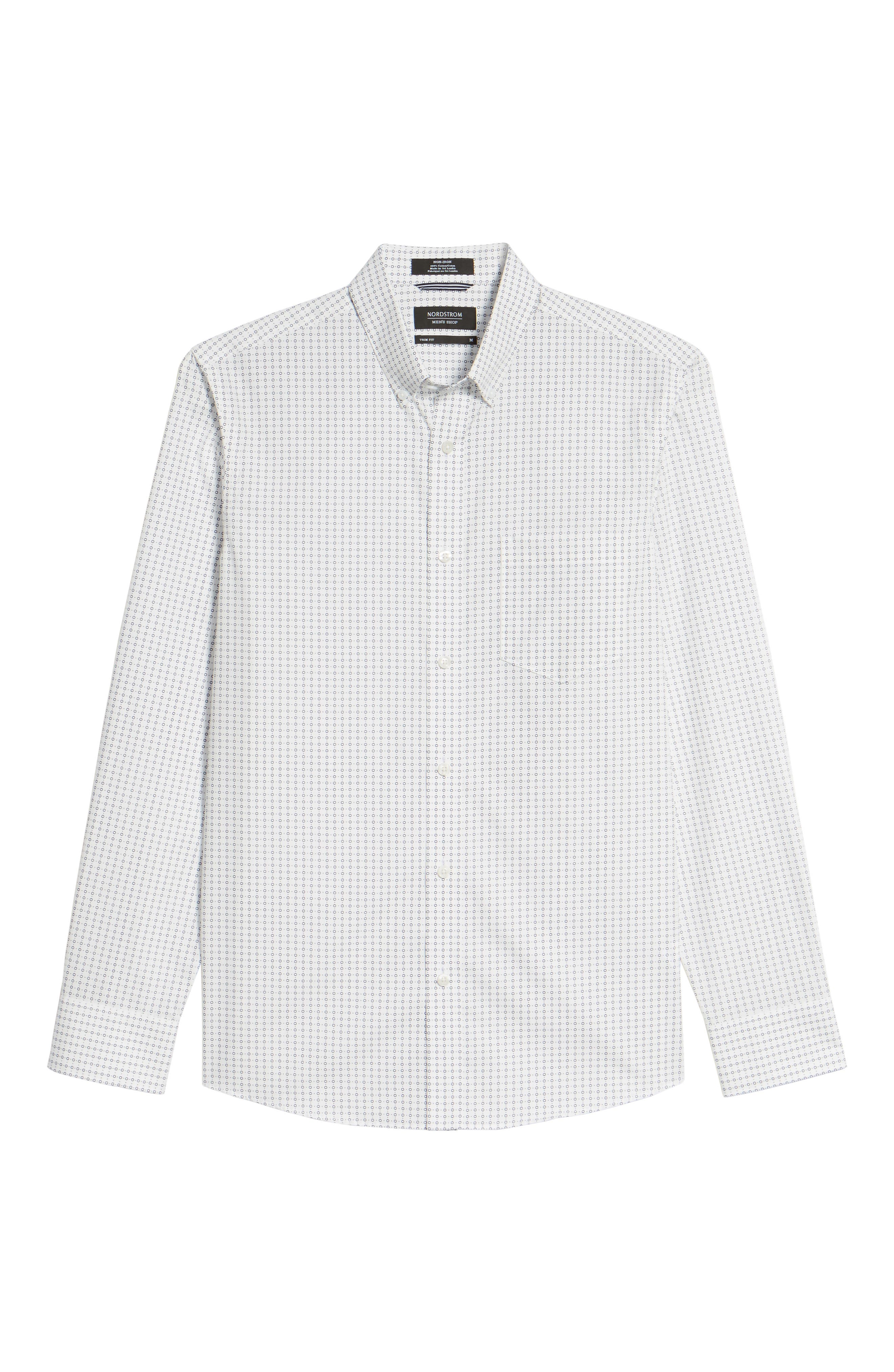 Trim Fit Non-Iron Circle Print Sport Shirt,                             Alternate thumbnail 6, color,                             900