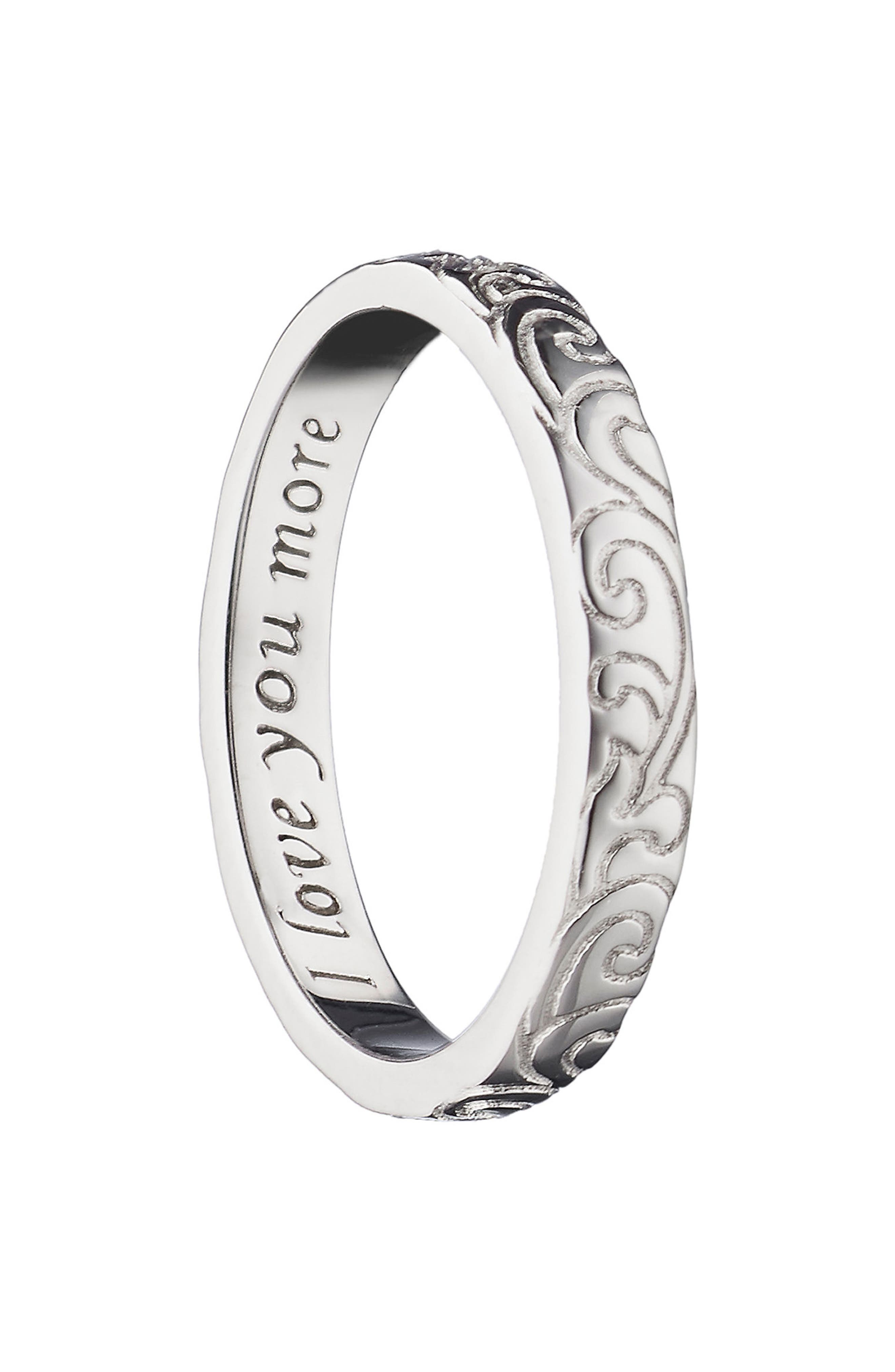 Love You More Scrollwork Poesy Ring Charm,                             Main thumbnail 1, color,                             STERLING SILVER