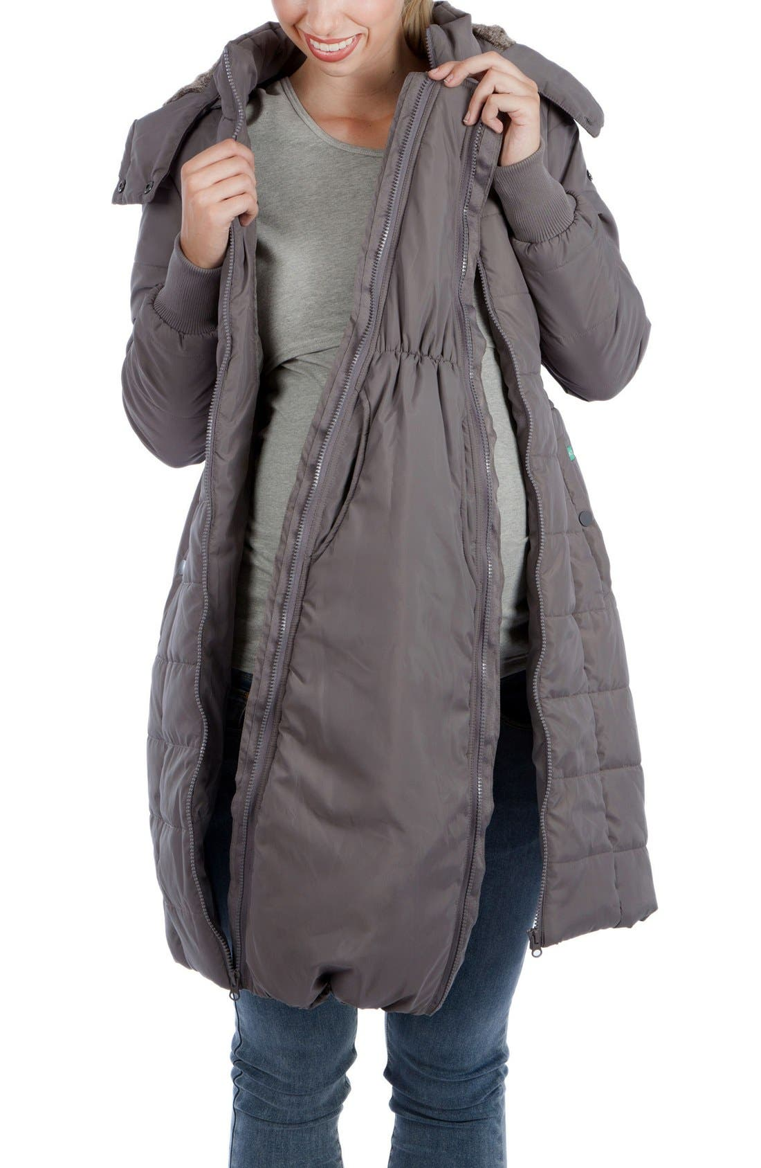 Madison Quilted 3-in-1 Maternity Puffer Coat with Faux Fur Trim,                             Alternate thumbnail 11, color,                             GREY