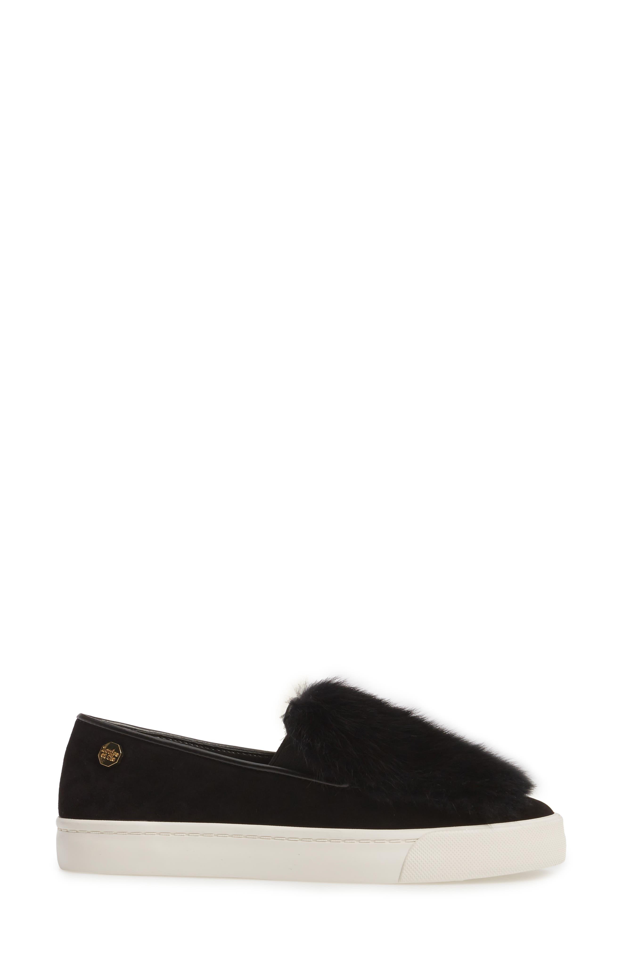 Bershner Genuine Rabbit Fur Slip-On Sneaker,                             Alternate thumbnail 3, color,                             001