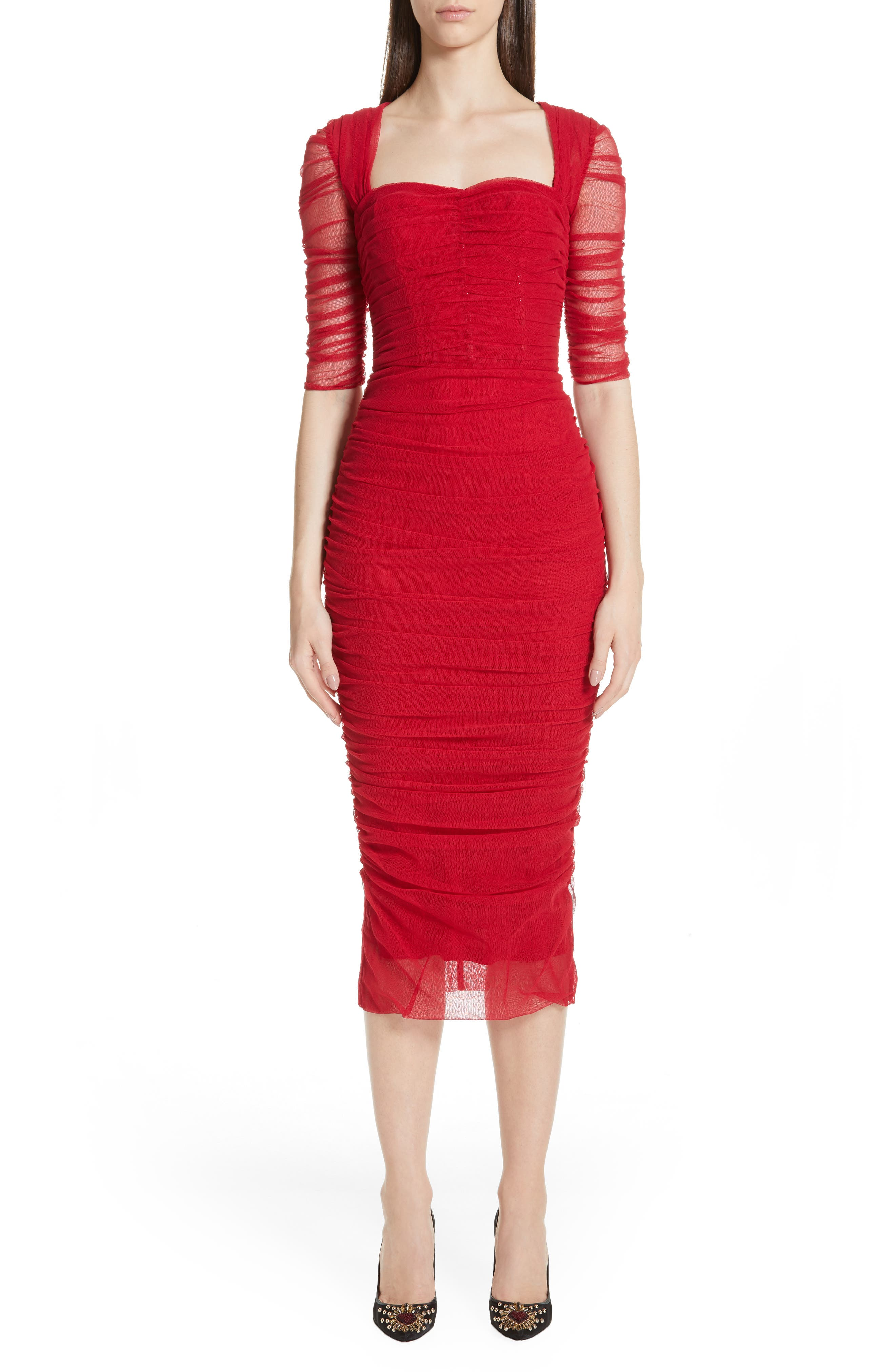 Dolce & gabbana Ruched Tulle Body-Con Dress, 8 IT - Red