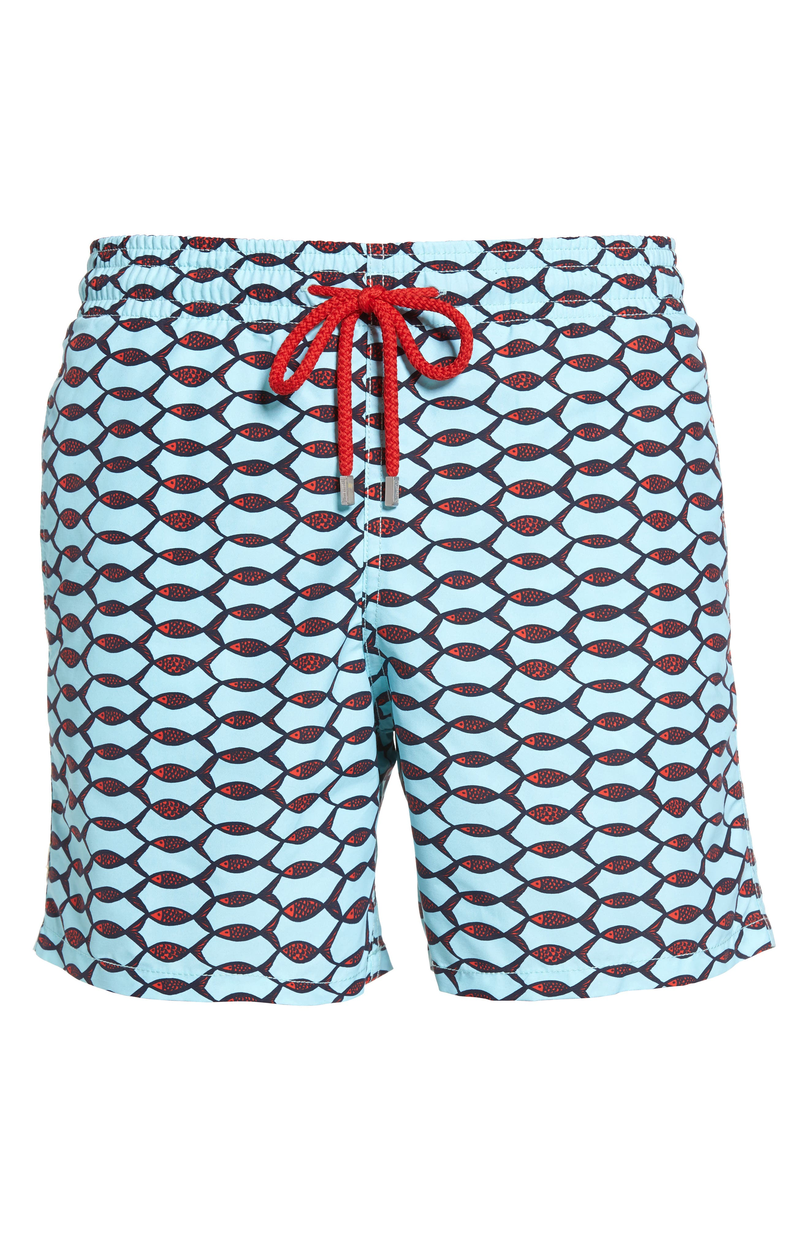 Moorea Fishnet Print Swim Trunks,                             Alternate thumbnail 6, color,                             FROSTED BLUE