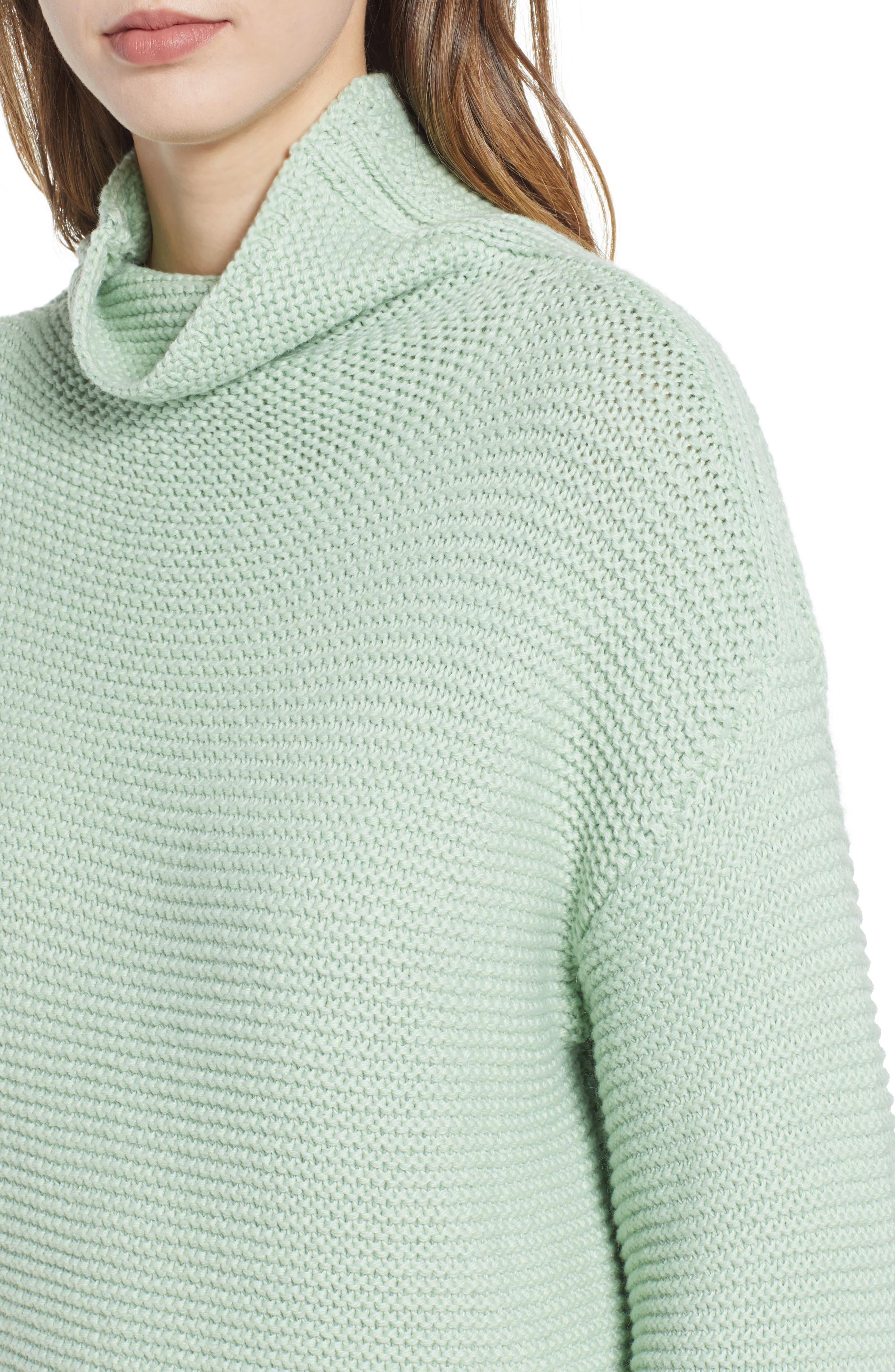 Turtleneck Sweater,                             Alternate thumbnail 4, color,                             GREEN GHOST