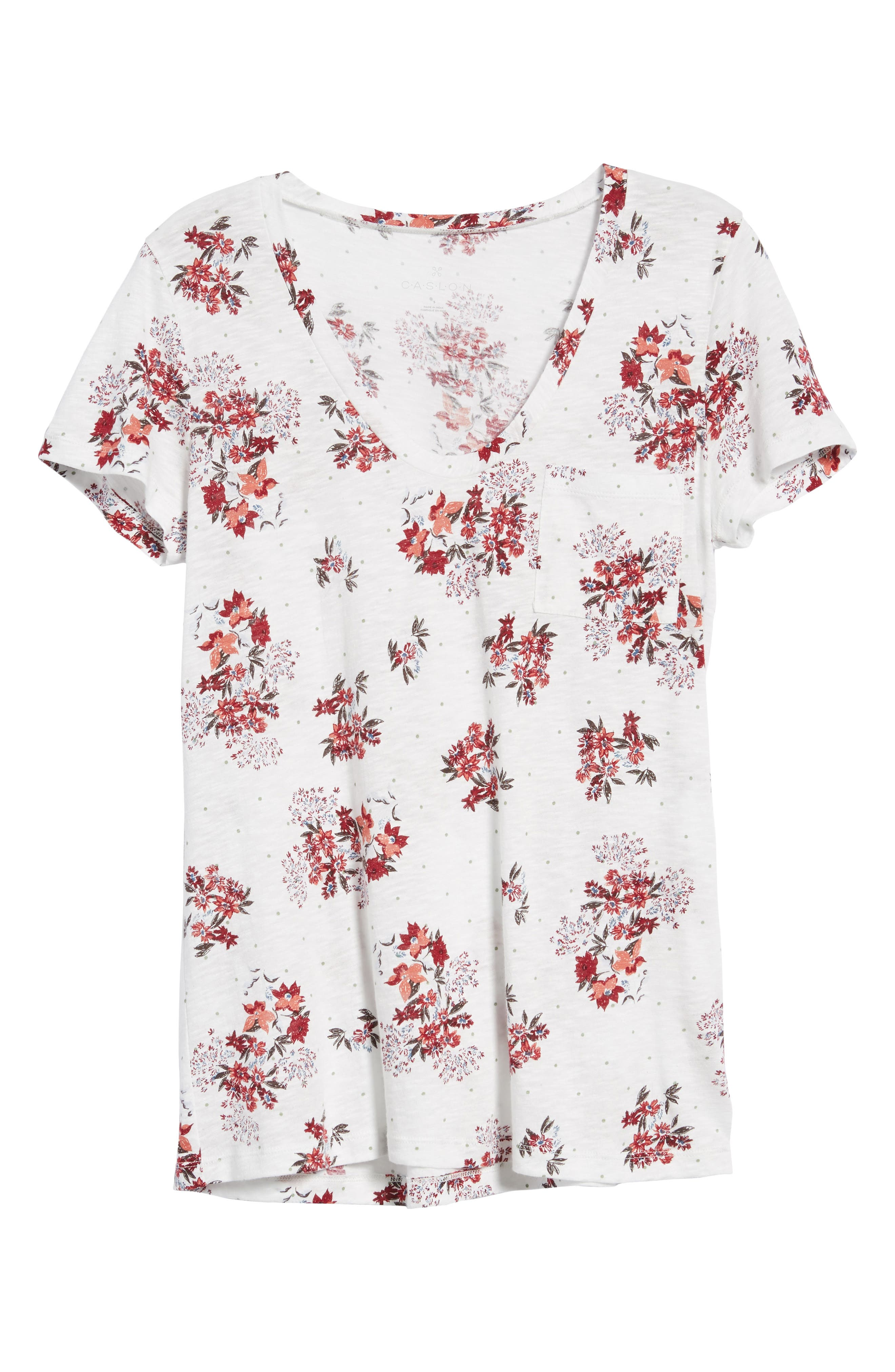 Rounded V-Neck Tee,                             Alternate thumbnail 7, color,                             IVORY SKETCHED FLORAL