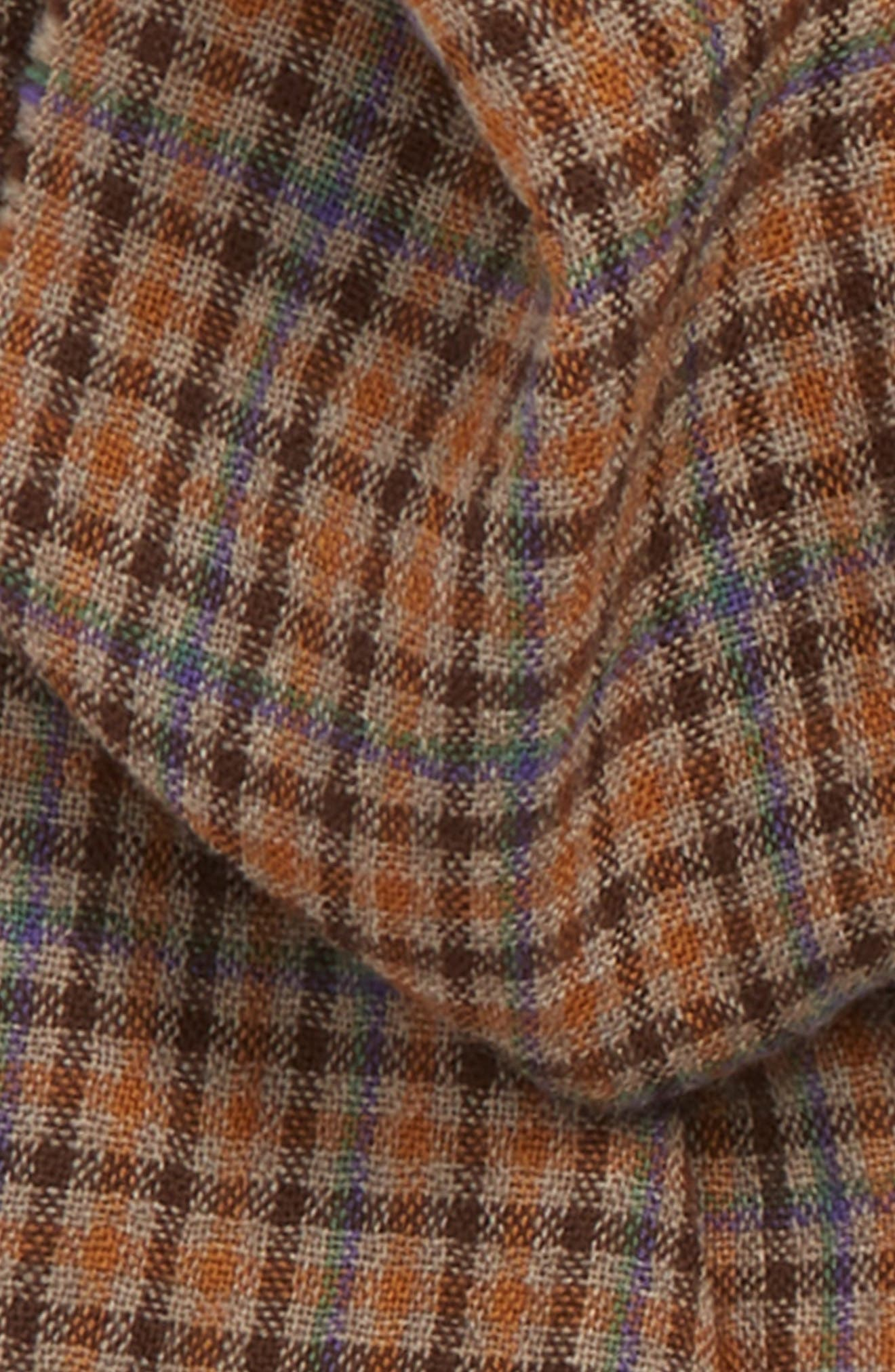 Drakes Plaid Merino Wool Scarf,                             Alternate thumbnail 3, color,                             BROWN CHECK