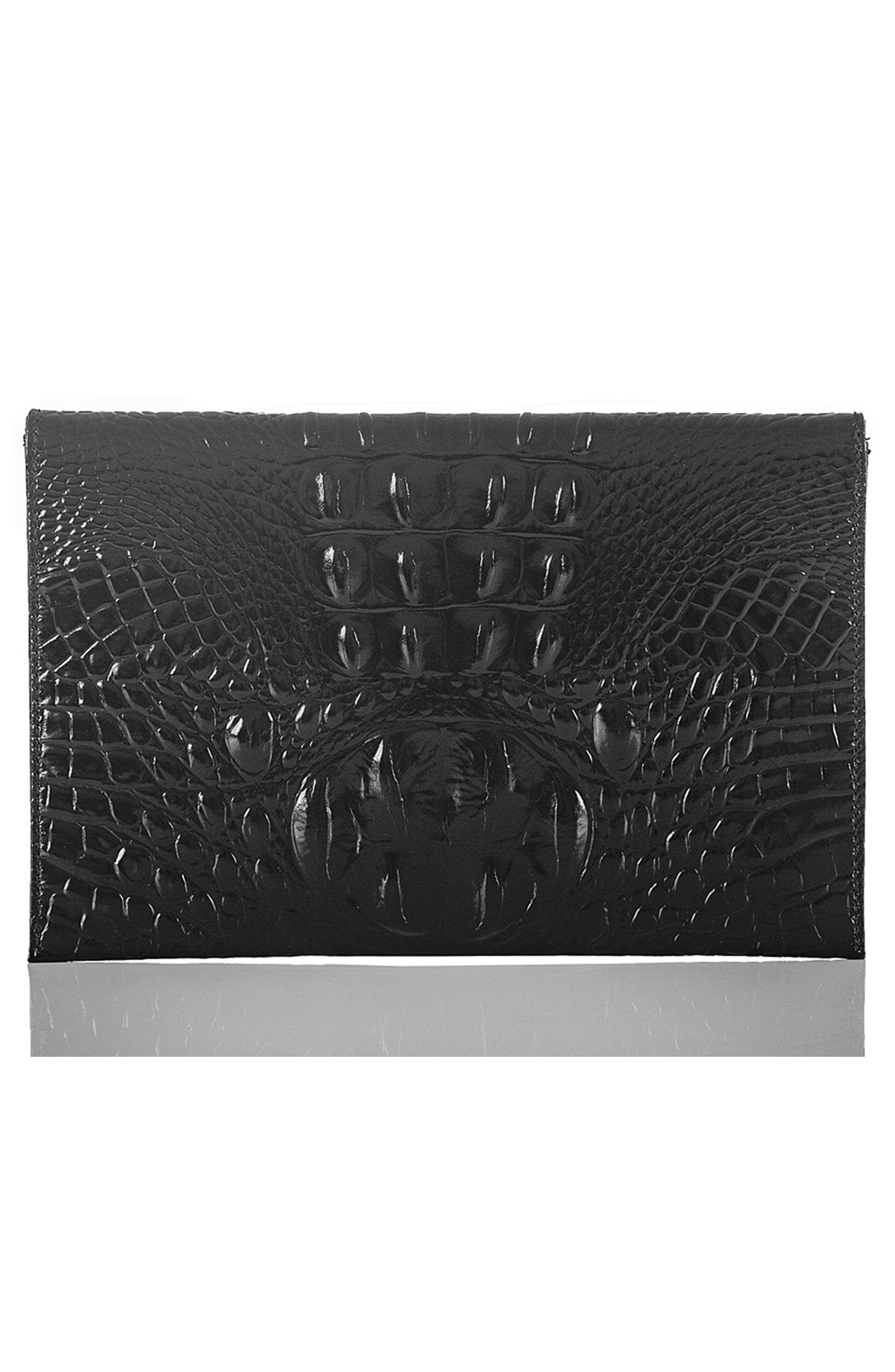 Melbourne Croc Embossed Leather Envelope Clutch,                             Alternate thumbnail 3, color,                             BLACK