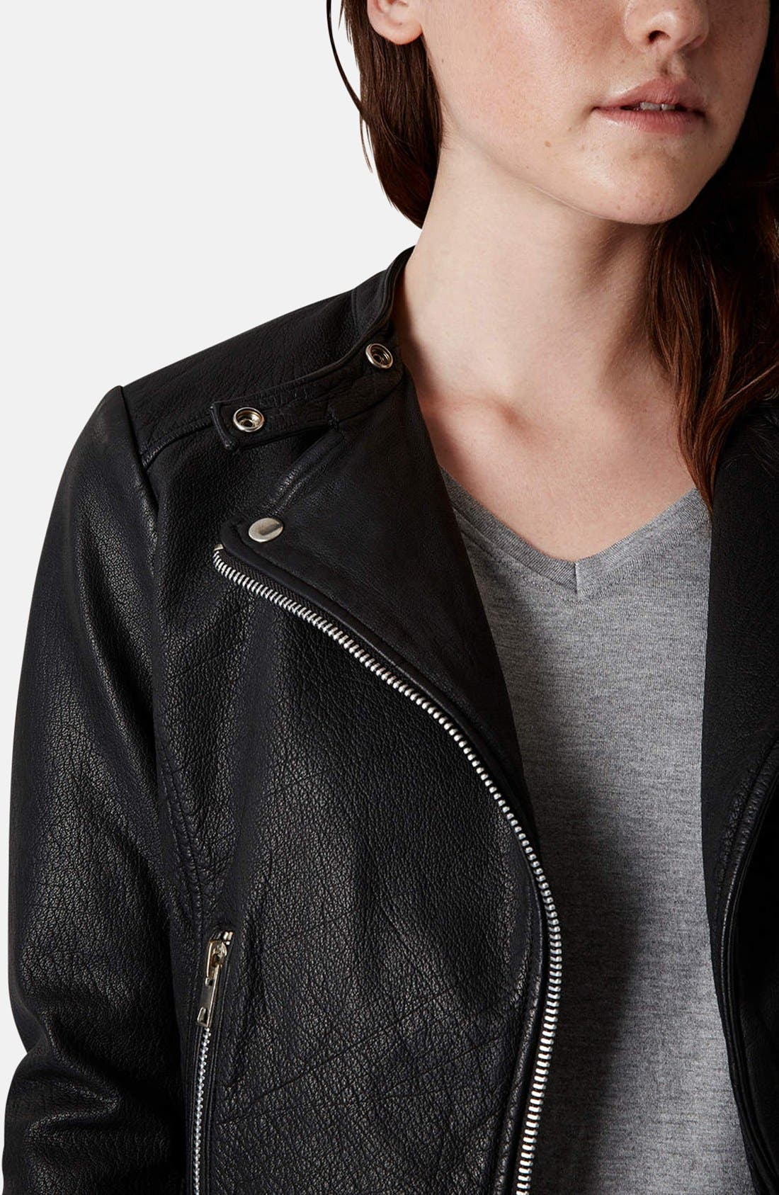 Collarless Leather Biker Jacket,                             Alternate thumbnail 3, color,                             001