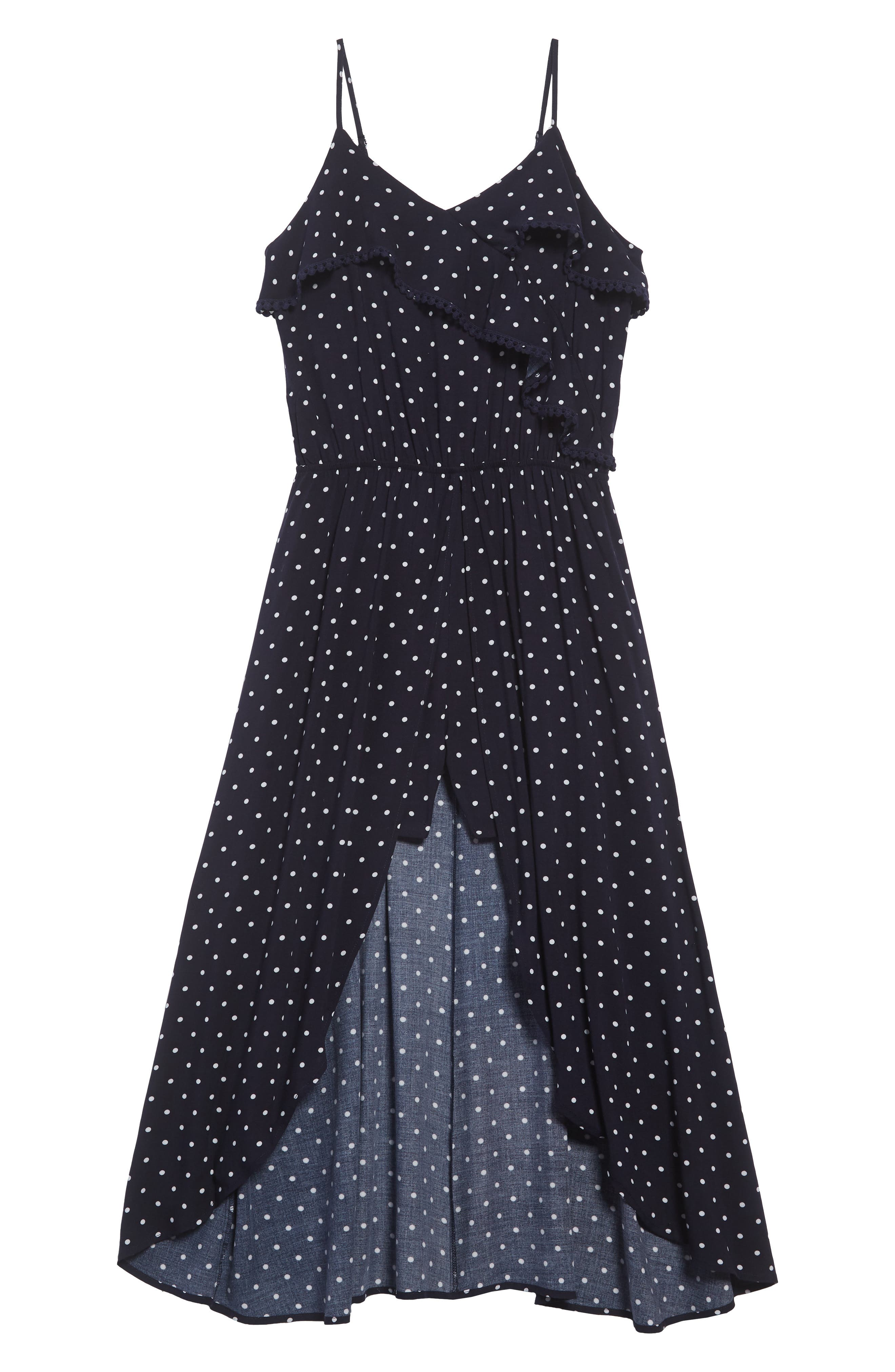 Dot High/Low Dress,                             Main thumbnail 1, color,                             415