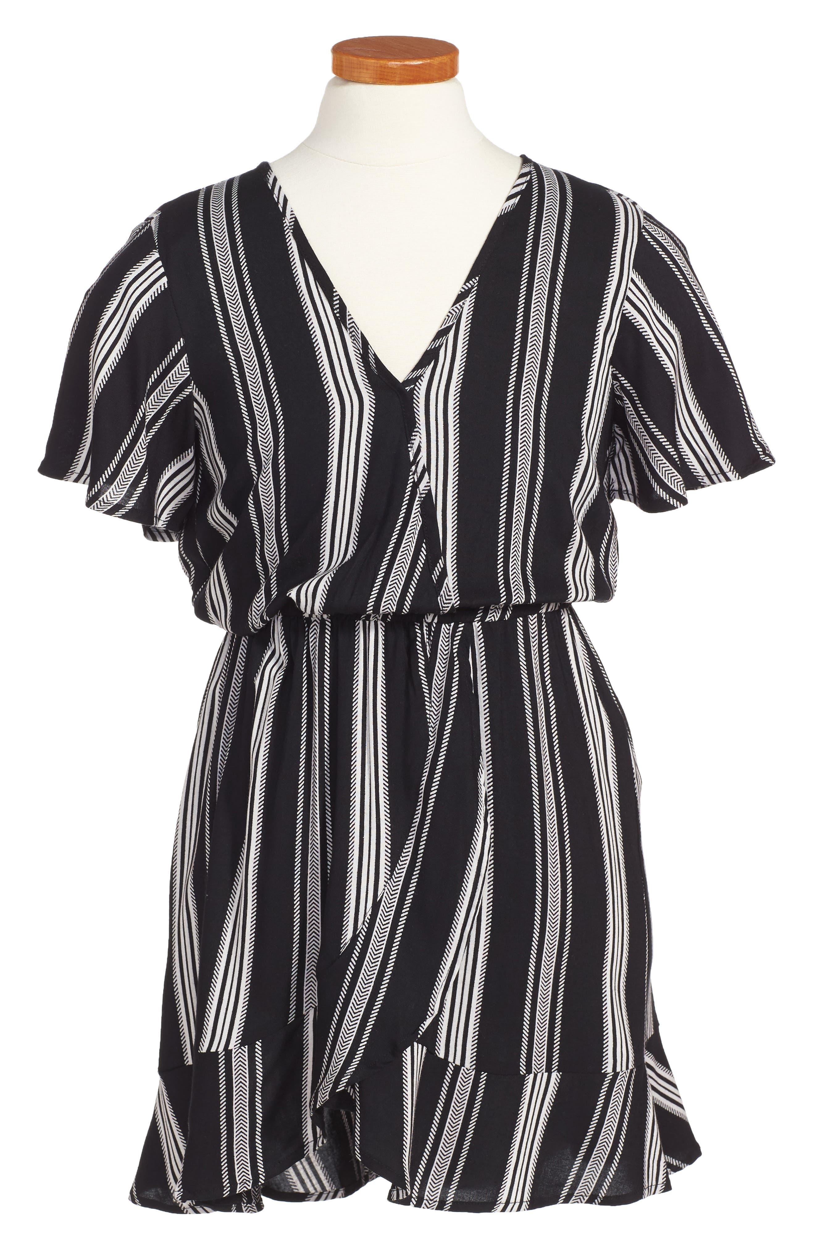 Stripe Flutter Sleeve Dress,                             Main thumbnail 1, color,