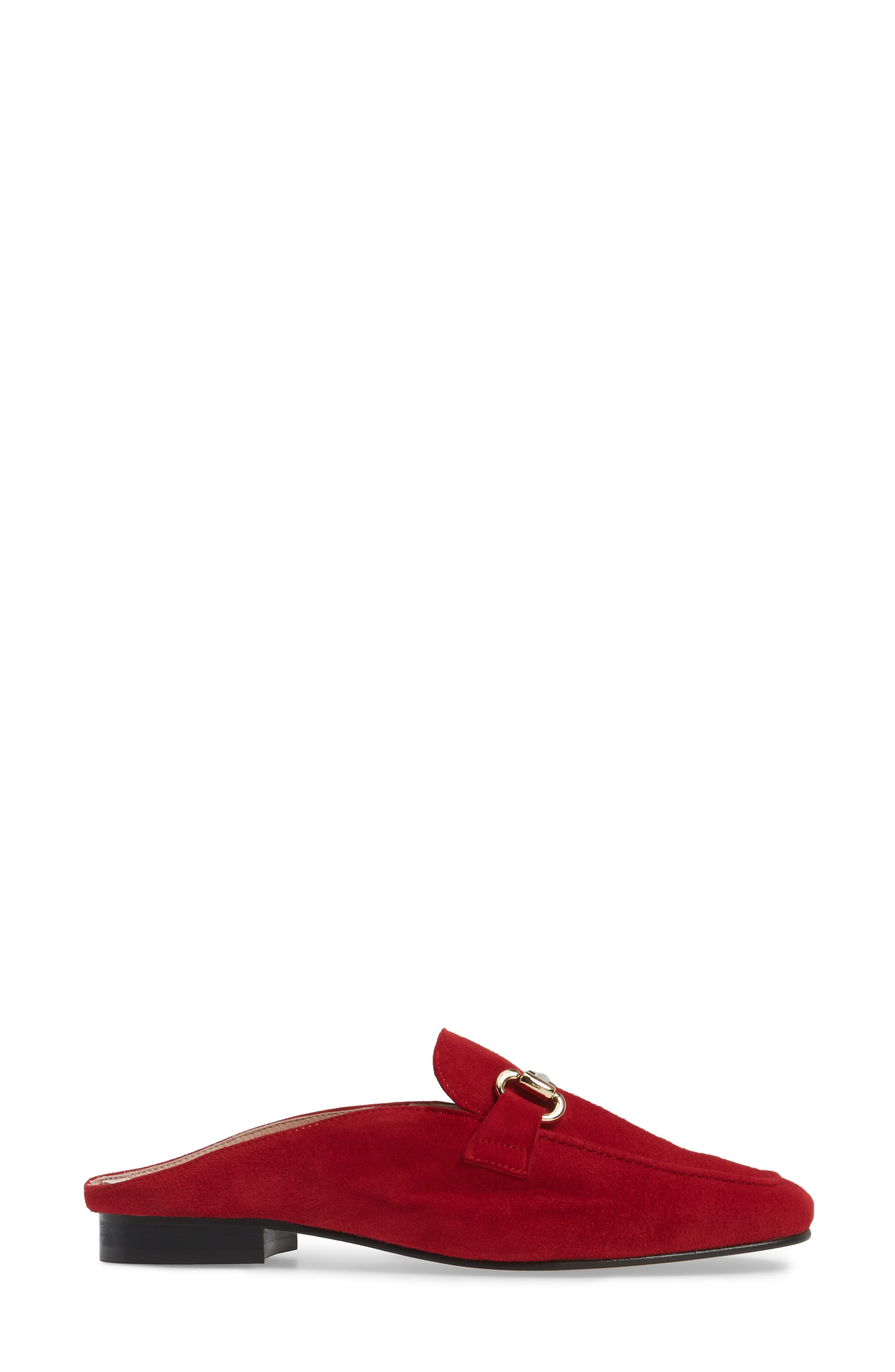 Sorrento Loafer Mule,                             Alternate thumbnail 3, color,                             RED SUEDE
