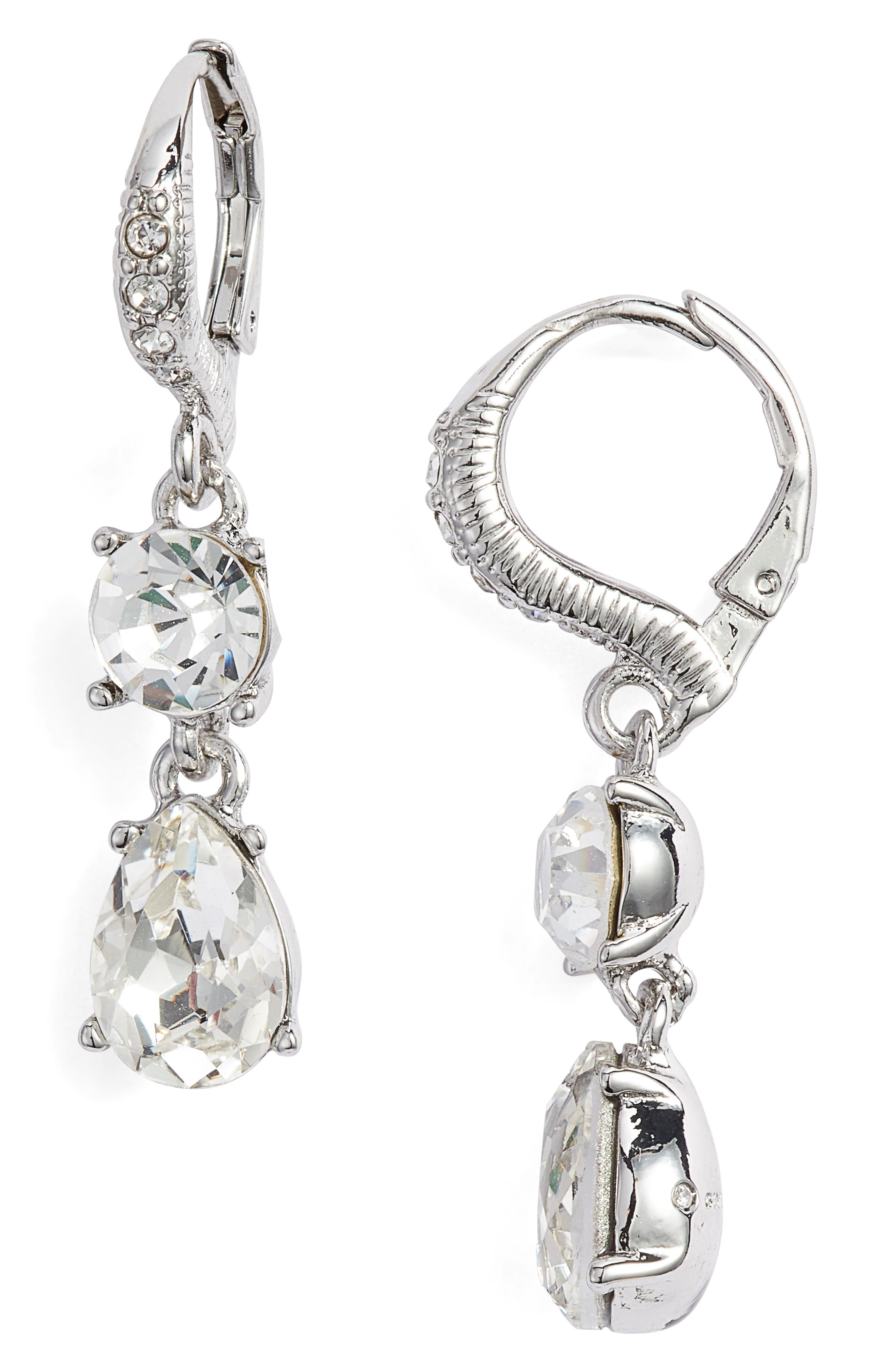 Small Crystal Drop Earrings,                             Main thumbnail 1, color,                             SILVER