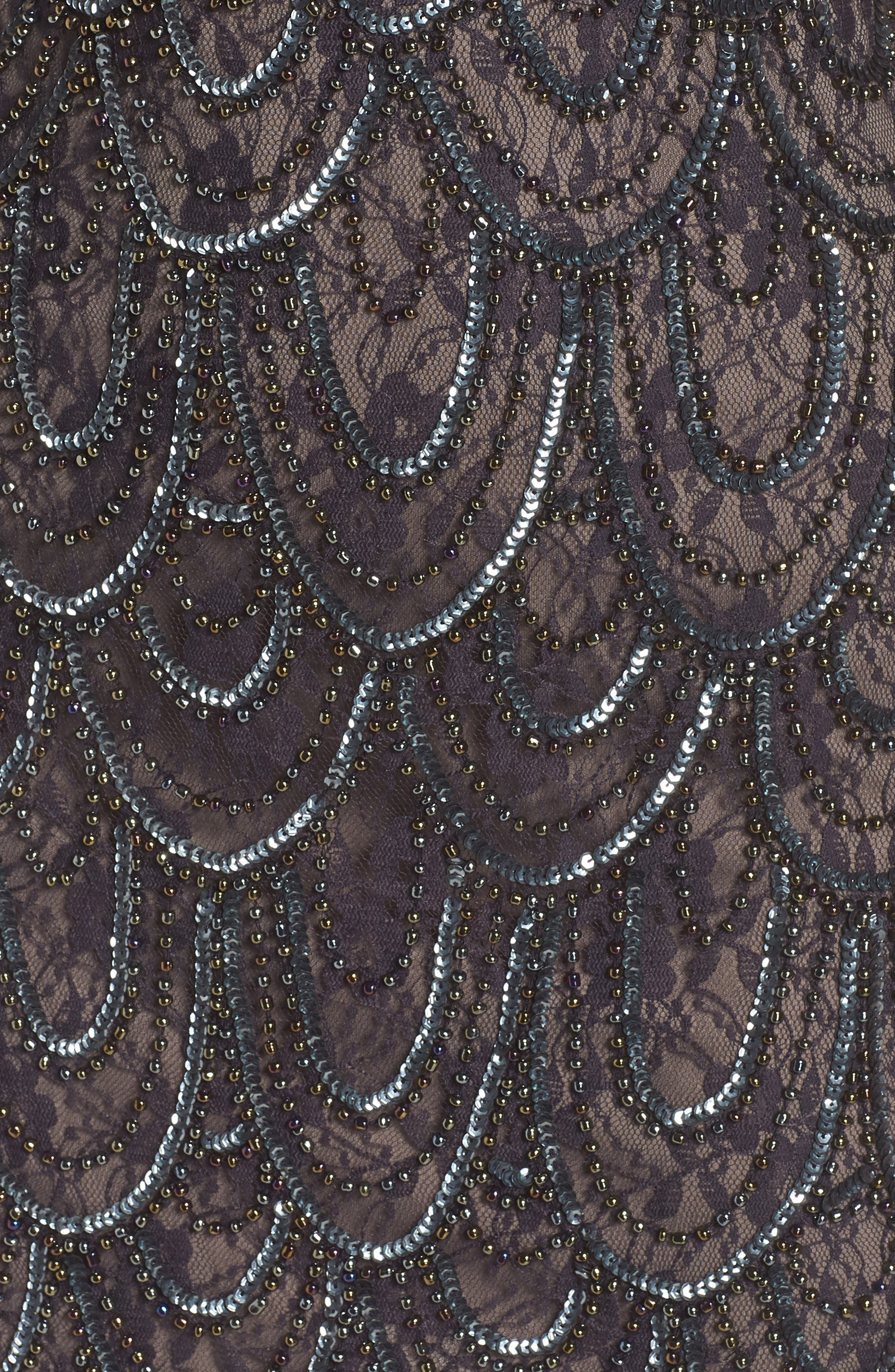 PISARRO NIGHTS,                             Beaded Lace Sheath Dress,                             Alternate thumbnail 6, color,                             200