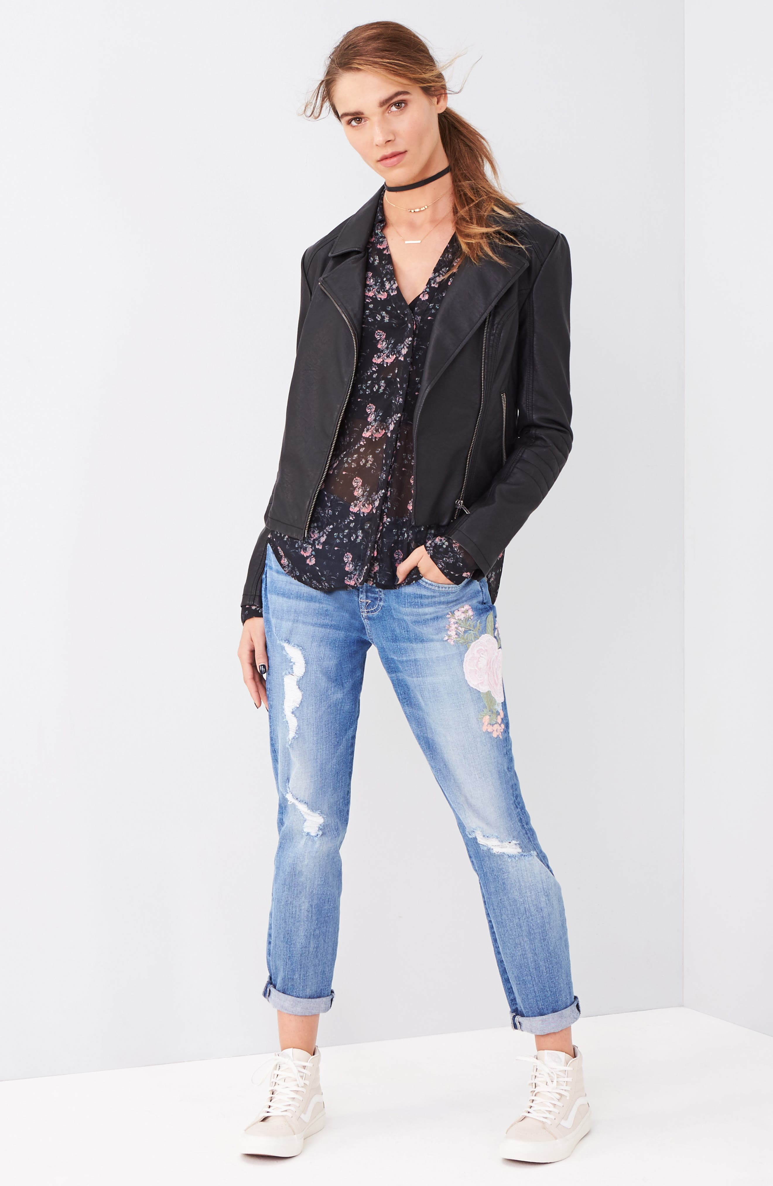 'Sid' Faux Leather Moto Jacket,                             Alternate thumbnail 3, color,