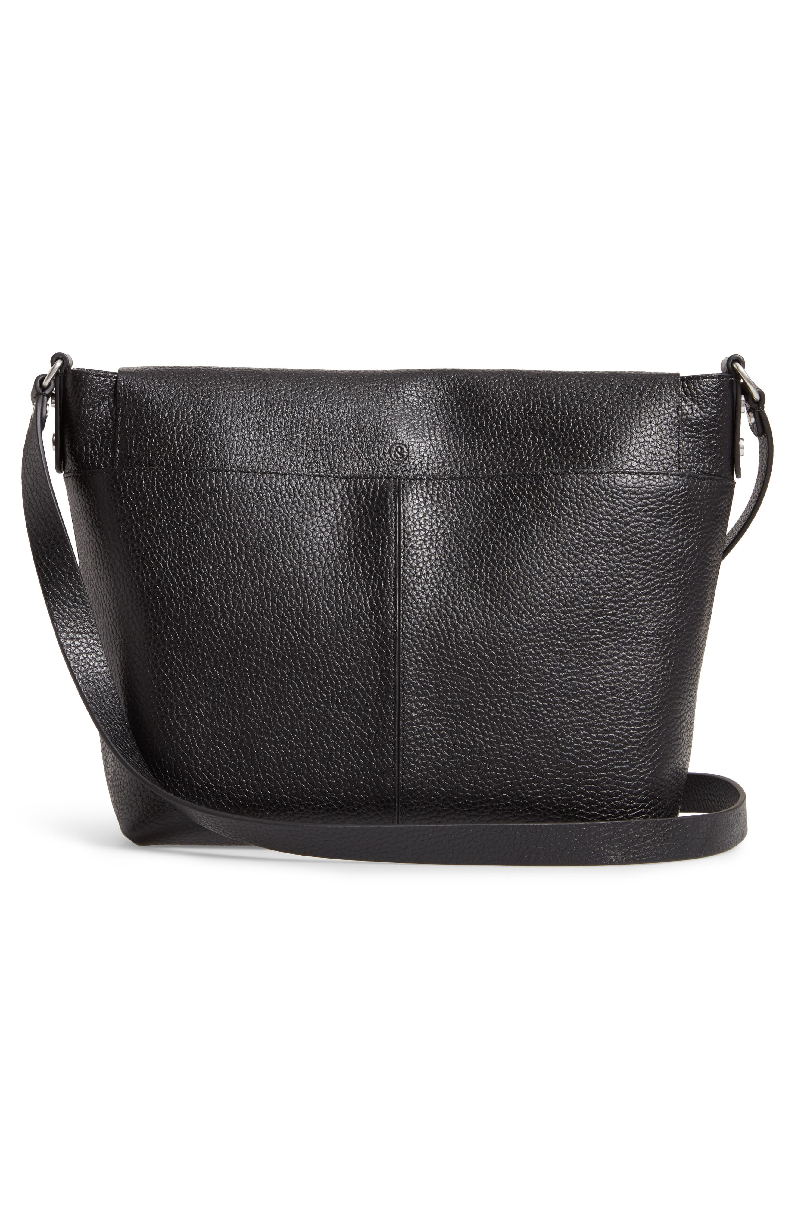 Nevyn Leather Messenger Bag,                             Alternate thumbnail 3, color,                             BLACK