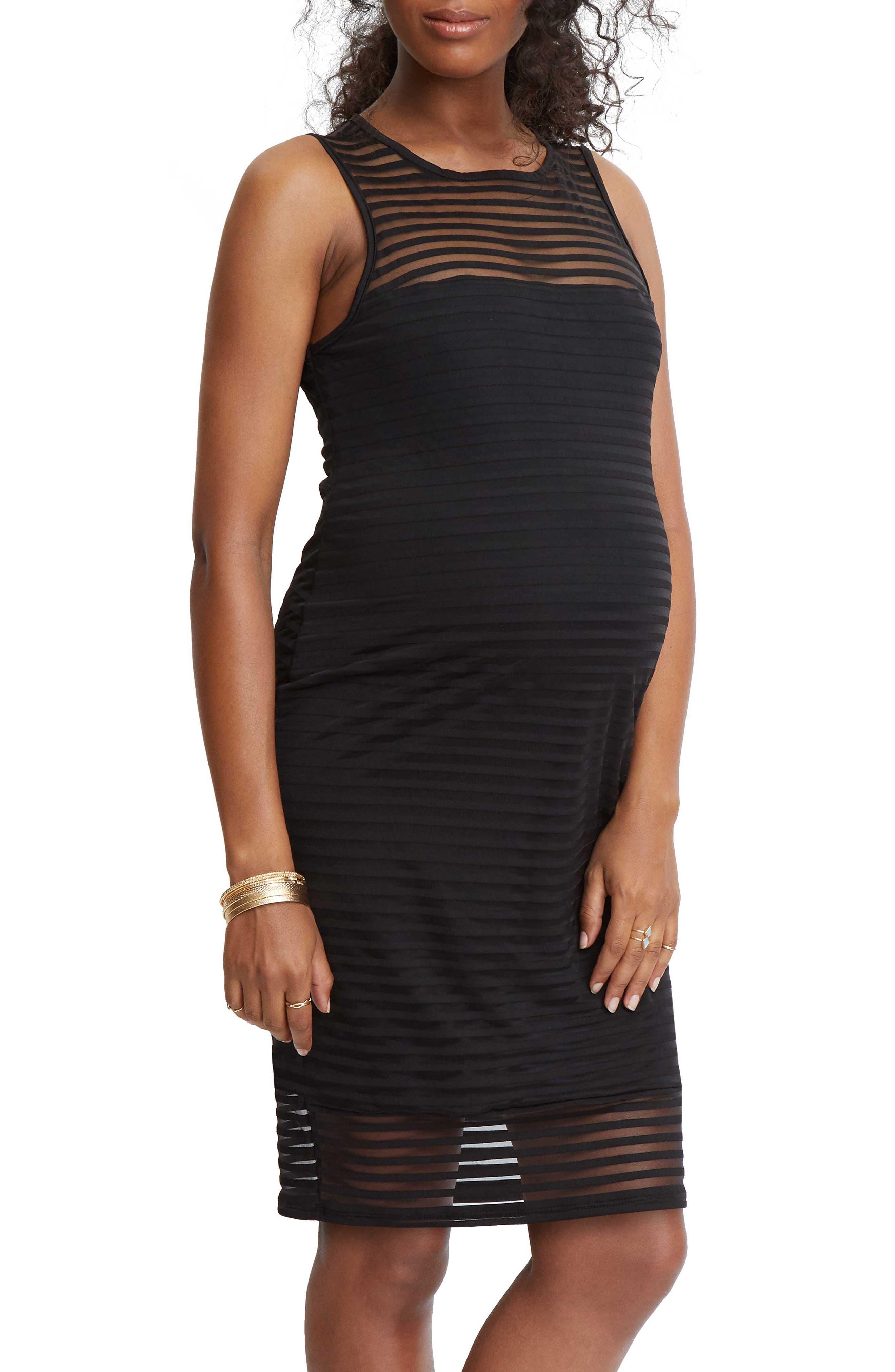 STOWAWAY COLLECTION Shadow Stripe Maternity Sheath Dress, Main, color, BLACK
