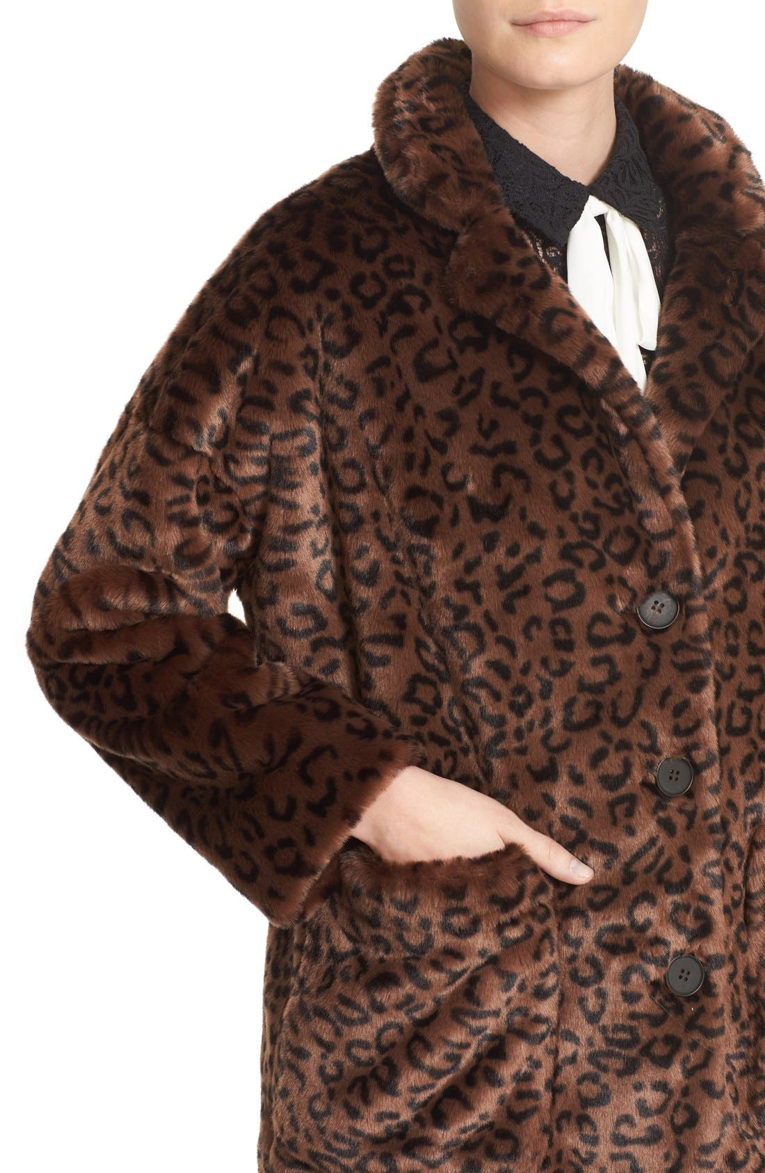 Leopard Print Faux Fur Coat,                             Alternate thumbnail 4, color,                             200