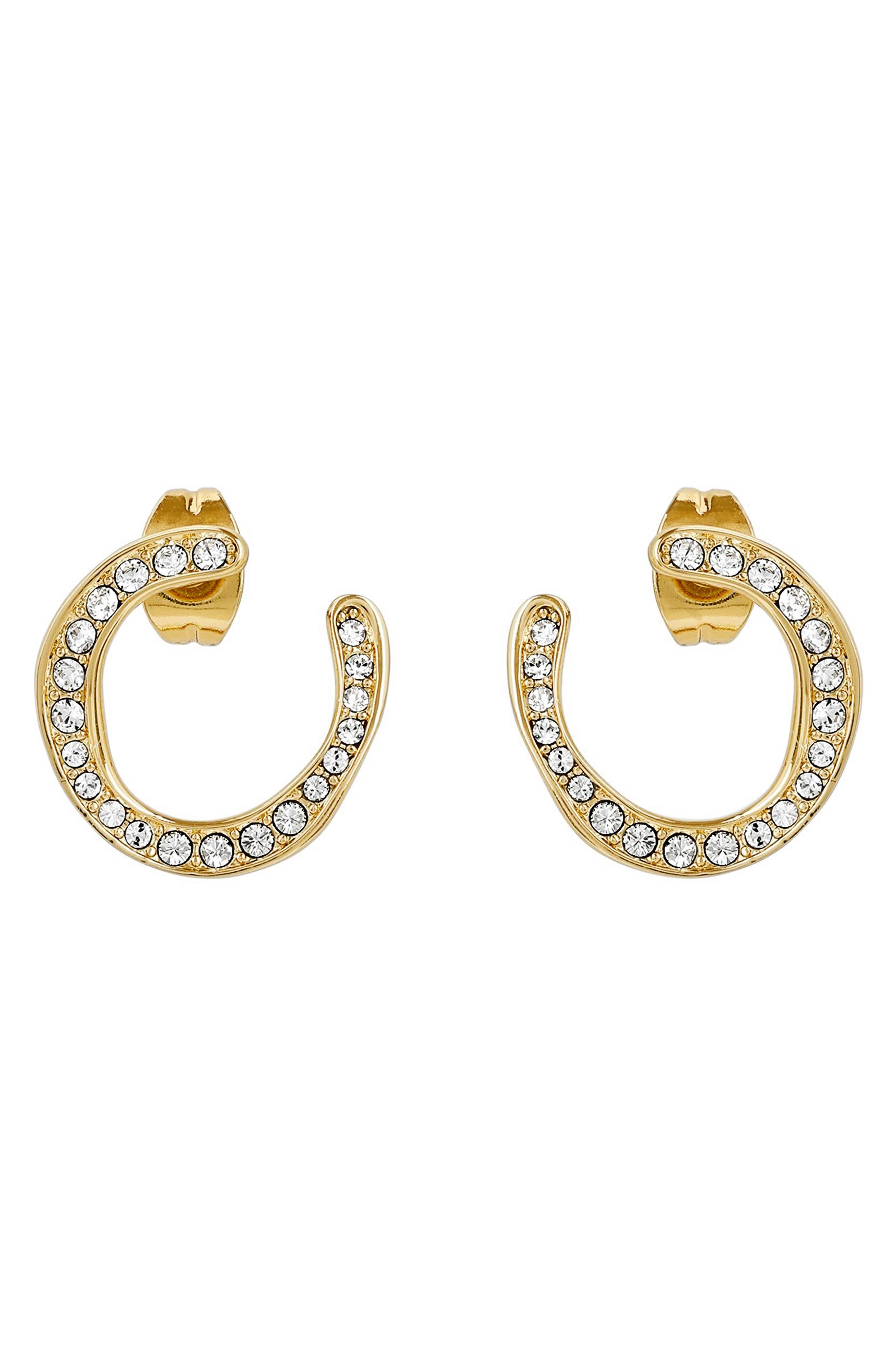 ADORE Organic Circle Hoop Rhinestone Earrings in Gold