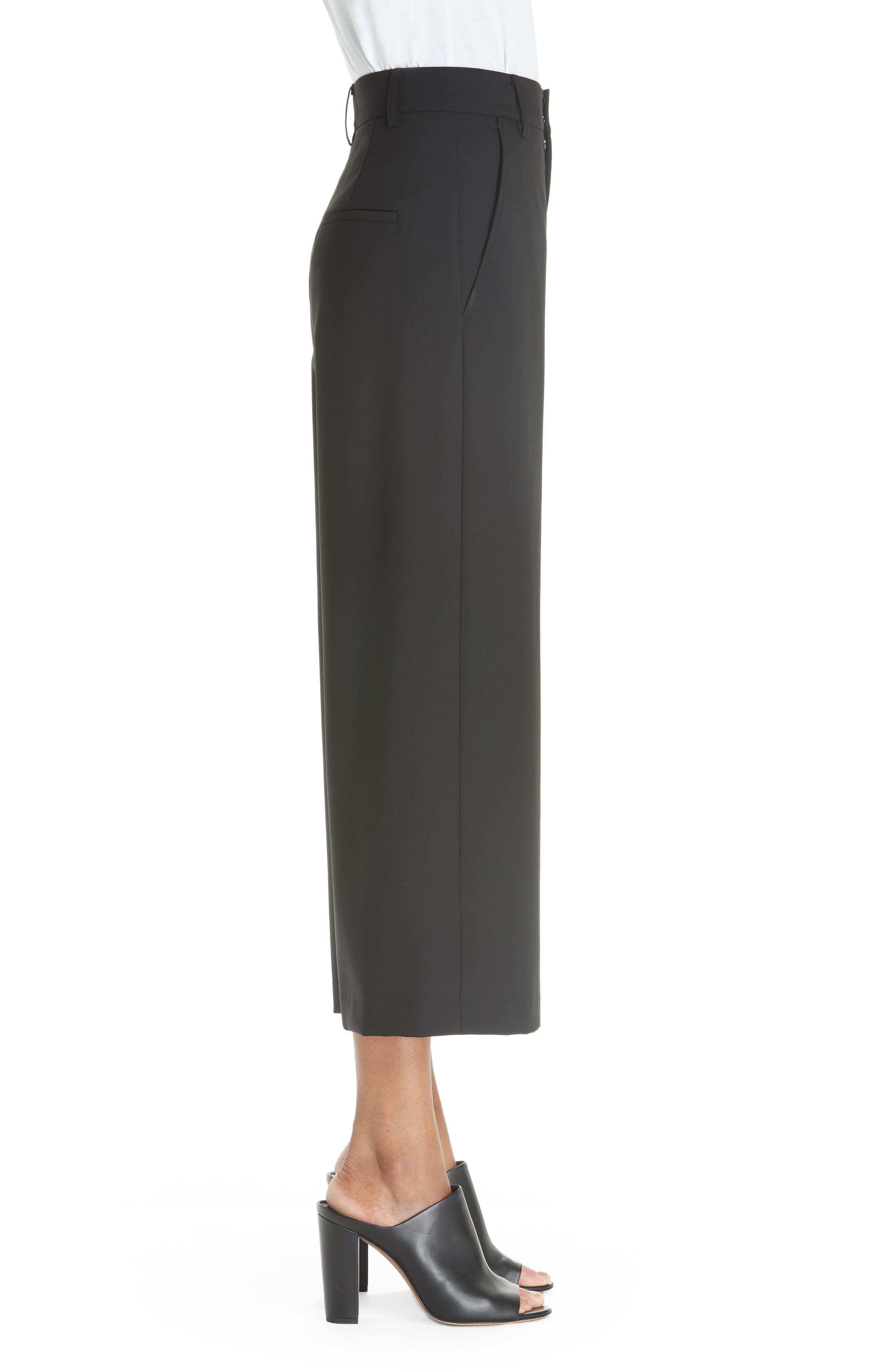 High Rise Wide Leg Crop Pant,                             Alternate thumbnail 3, color,                             001