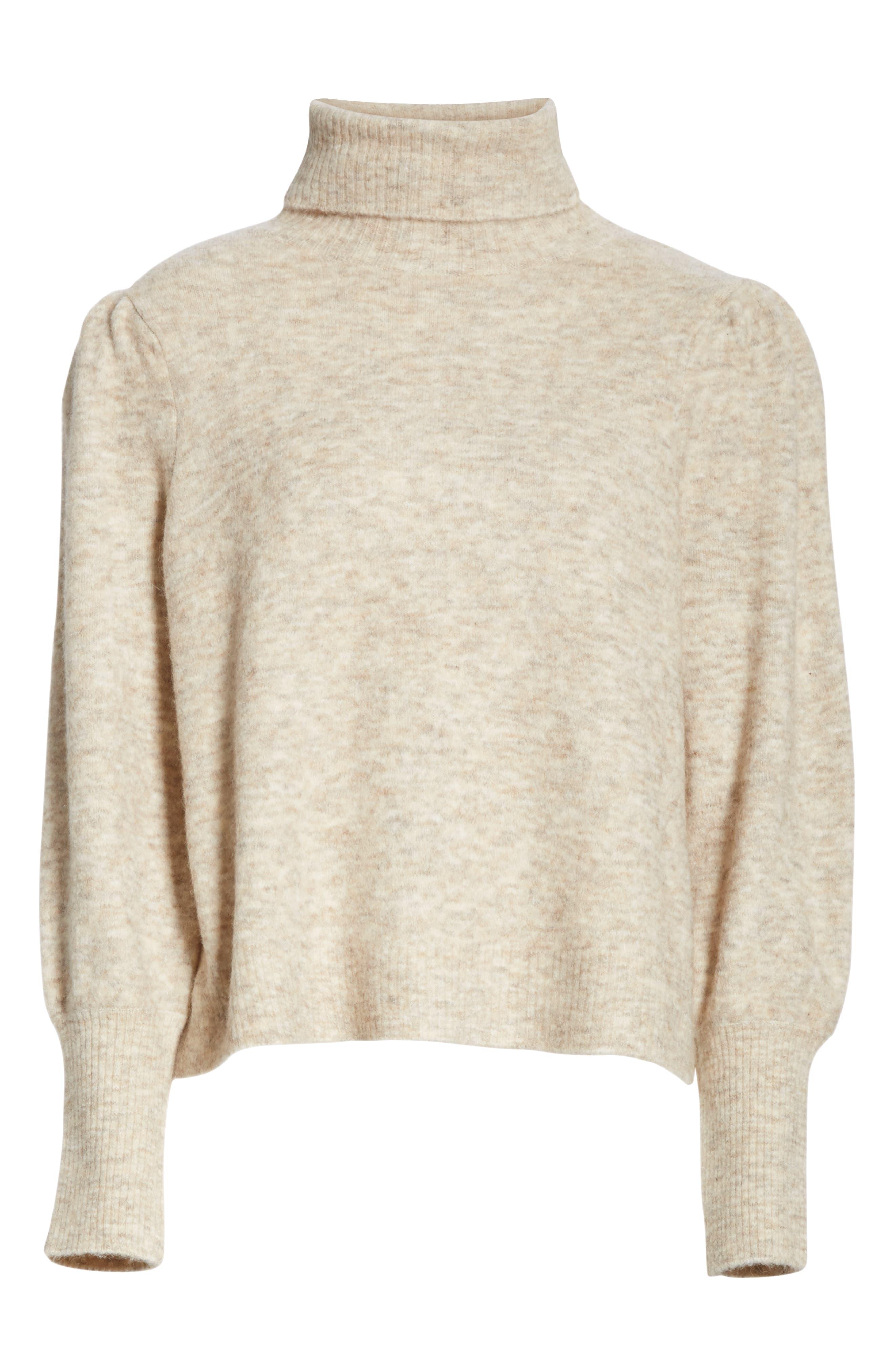Swingy Turtleneck Sweater,                             Alternate thumbnail 6, color,                             OATMEAL