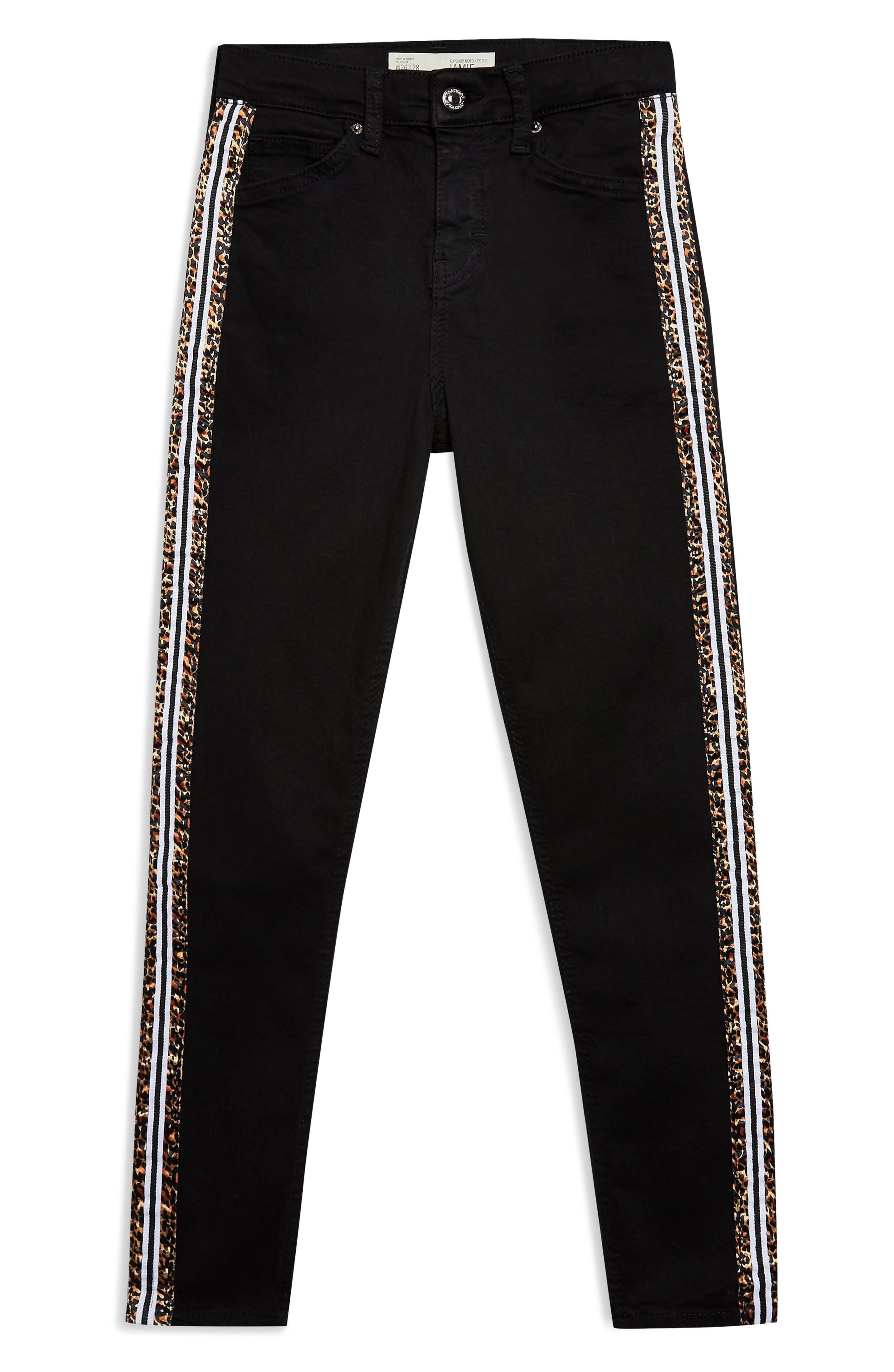 Leopard Stripe Jeans,                             Alternate thumbnail 3, color,                             WASHED BLACK