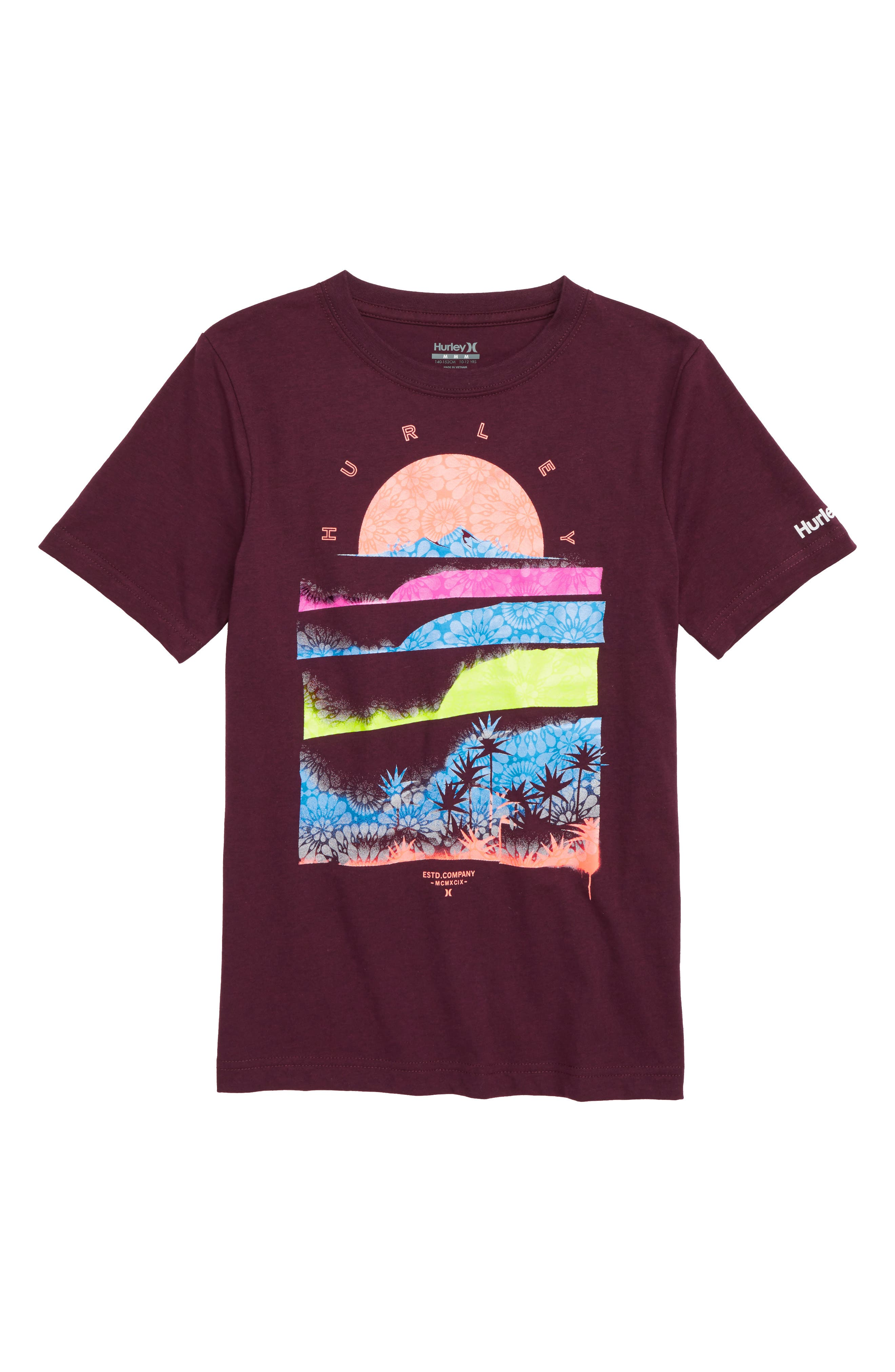Rolling Down T-Shirt, Main, color, DEEP MAROON HEATHER
