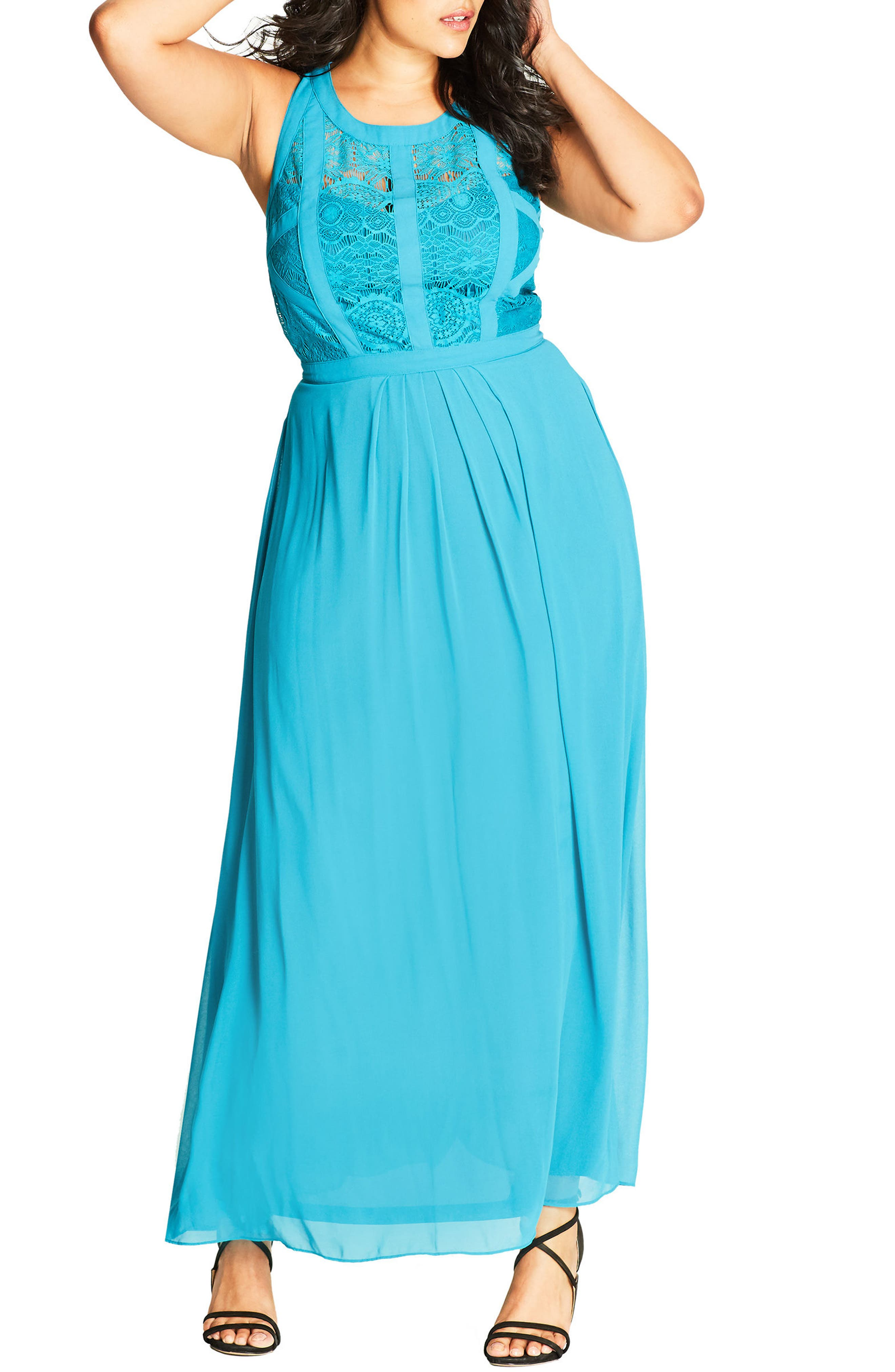 Paneled Lace Bodice Gown,                             Main thumbnail 7, color,