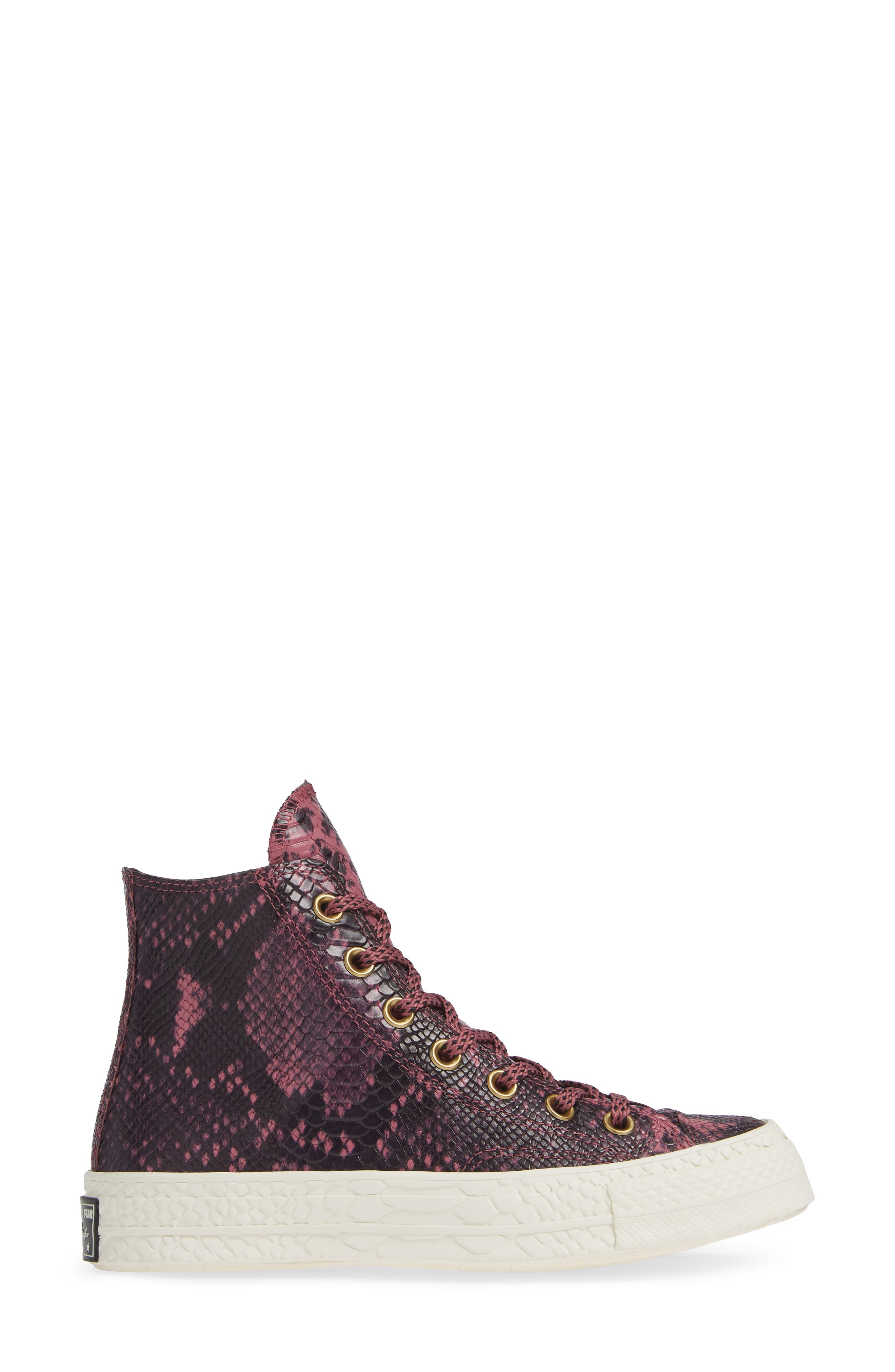 Chuck Taylor<sup>®</sup> All Star<sup>®</sup> CT 70 Reptile High Top Sneaker,                             Alternate thumbnail 3, color,                             VINTAGE WINE LEATHER