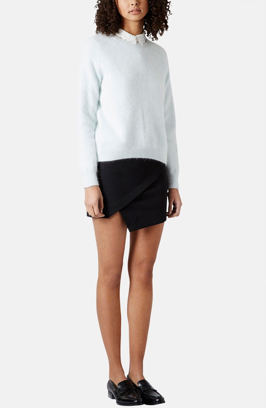 TOPSHOP,                             Asymmetrical Miniskirt,                             Alternate thumbnail 5, color,                             001