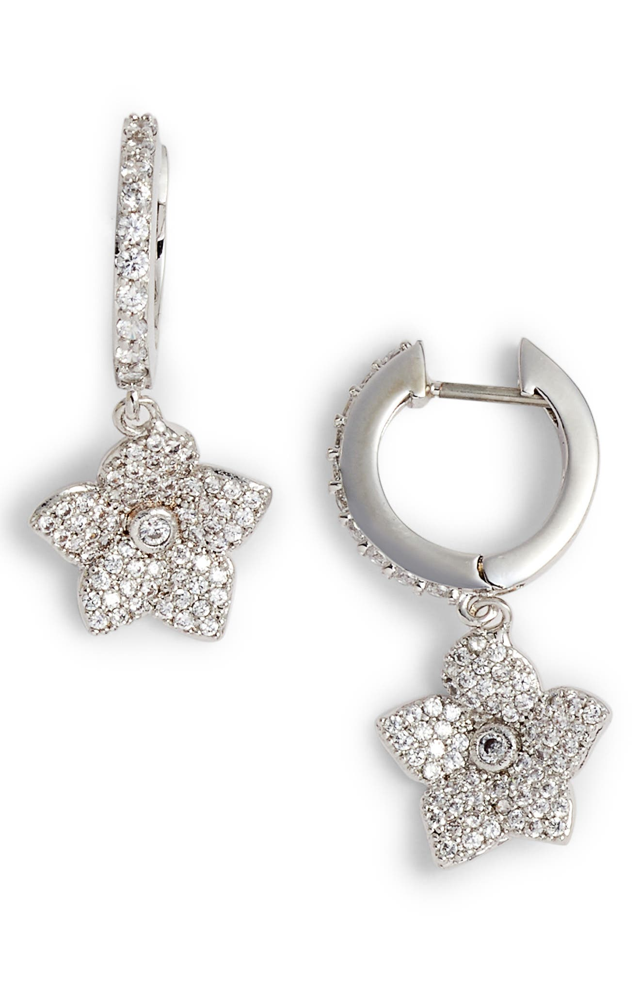 blooming pavé drop earrings,                         Main,                         color, CLEAR/ SILVER