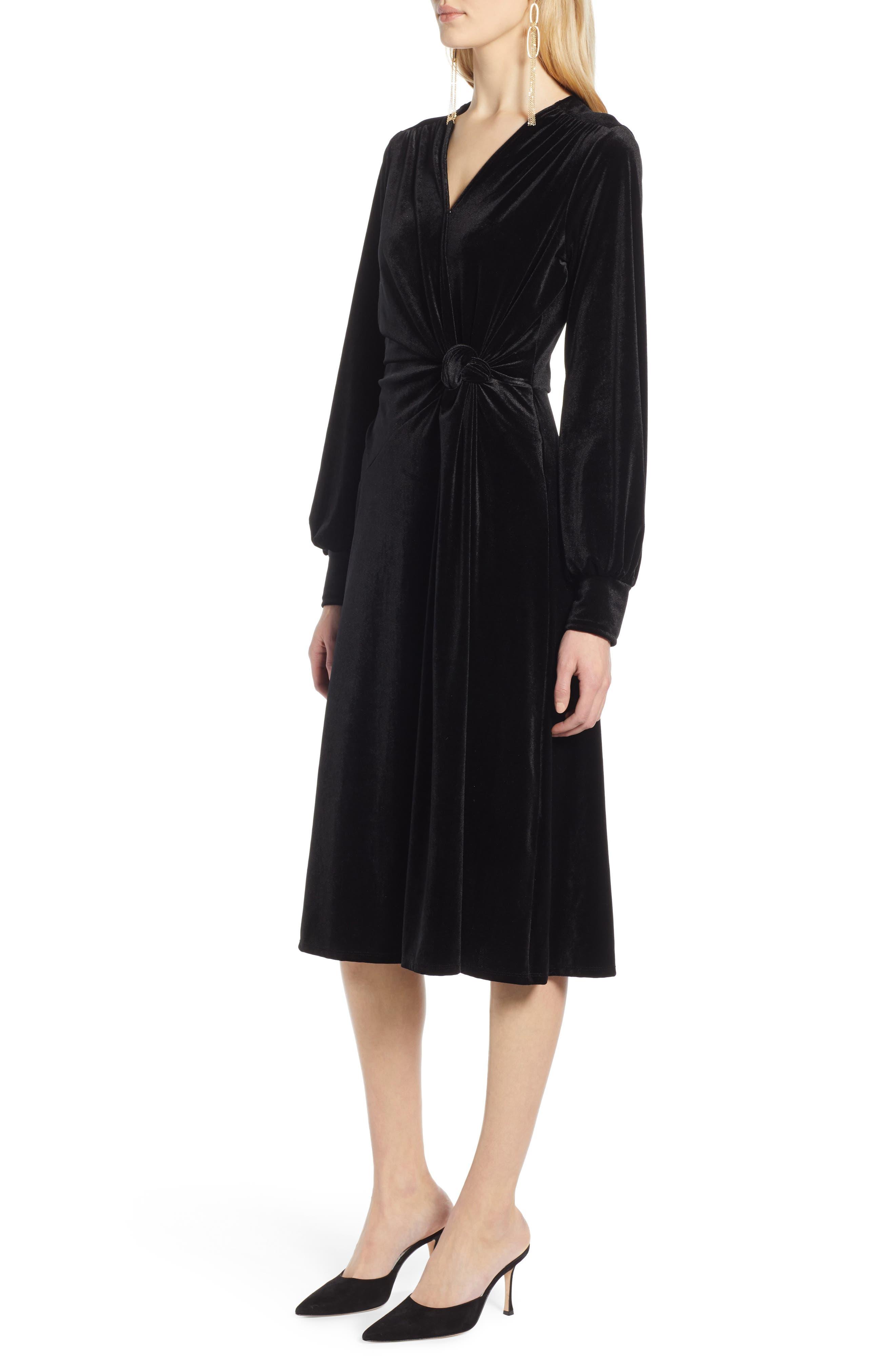 Velvet Faux Wrap Dress,                             Alternate thumbnail 3, color,                             BLACK