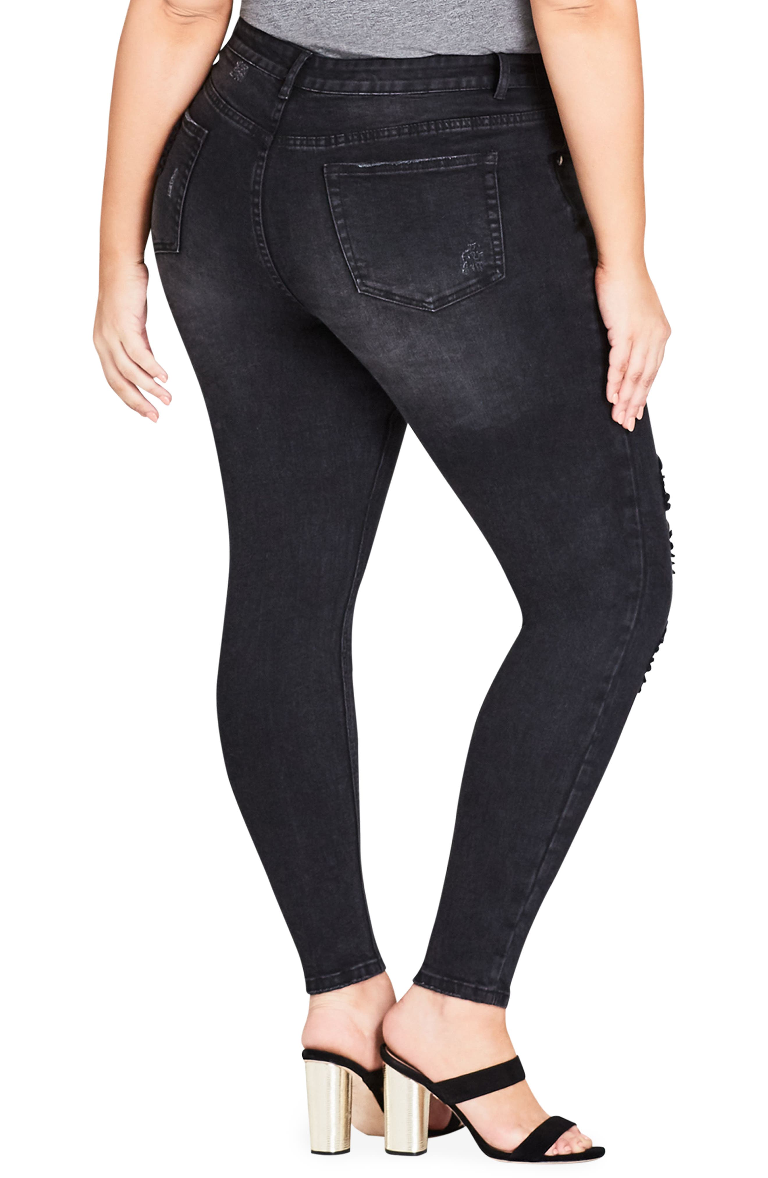 CITY CHIC,                             Fishnet Ripped Skinny Jeans,                             Alternate thumbnail 2, color,                             001