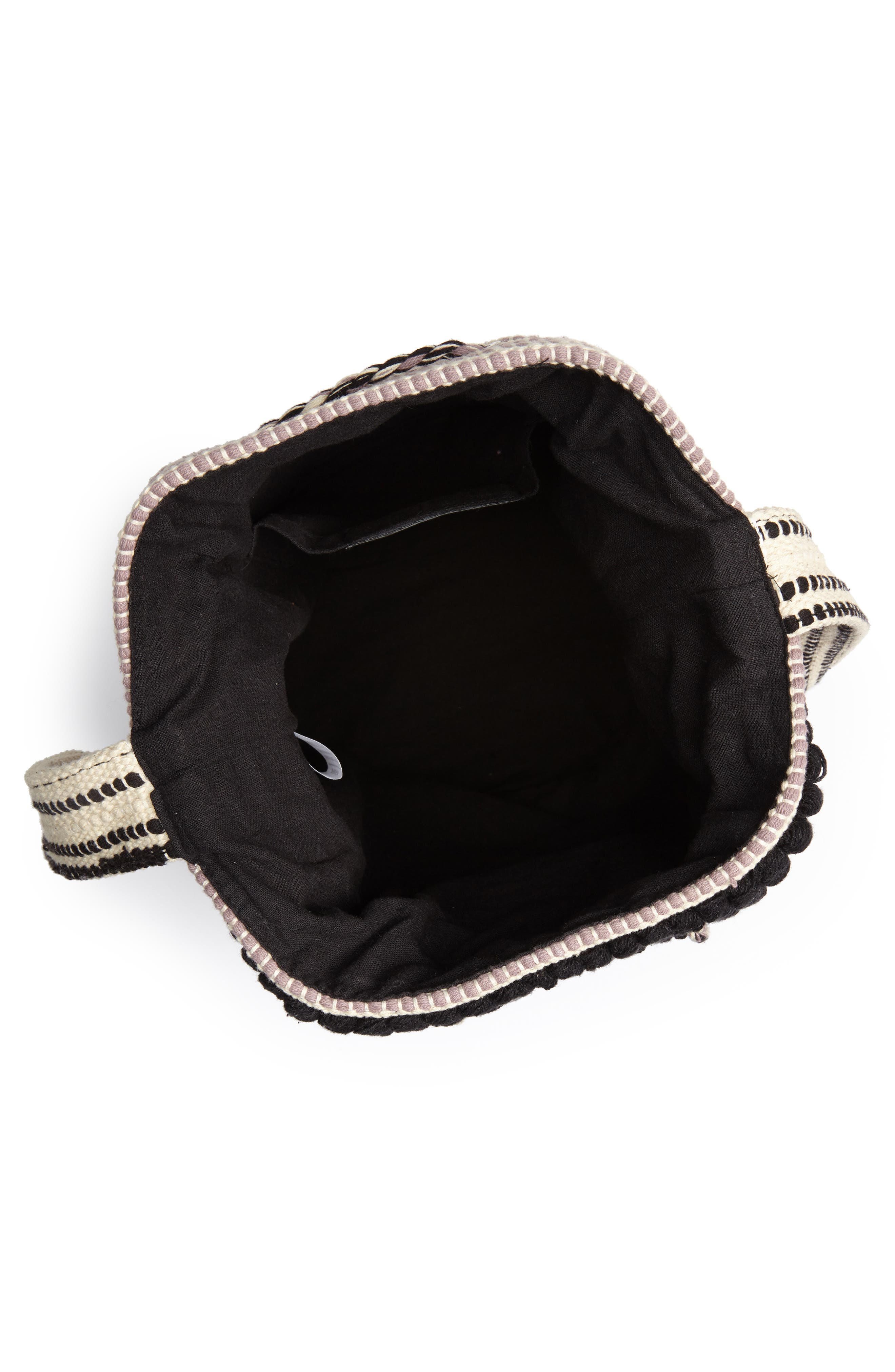 Halay Woven Bucket Bag,                             Alternate thumbnail 4, color,                             BLACK/ CREAM