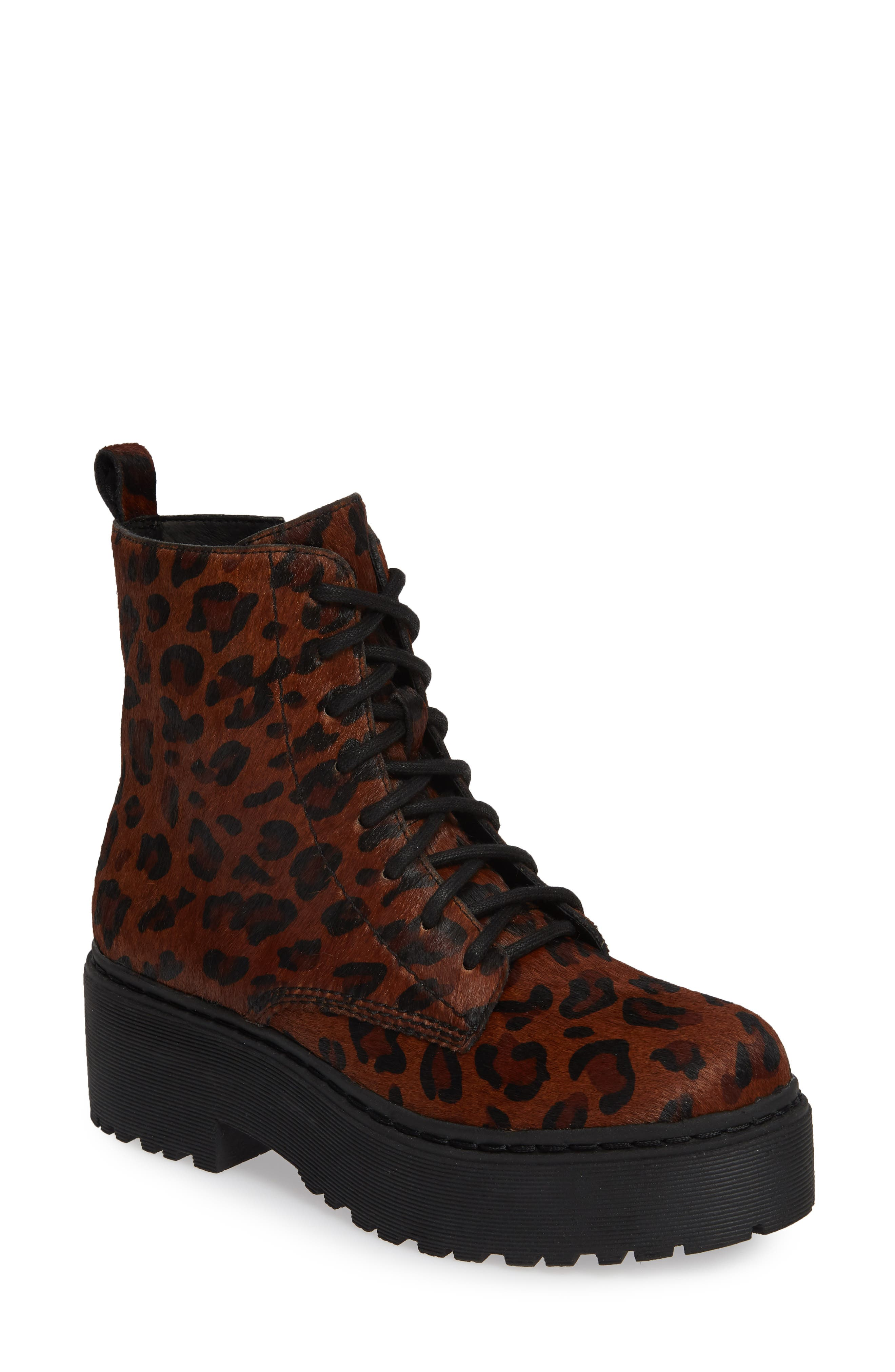 Jeffrey Campbell District-F Genuine Calf Hair Platform Boot- Brown