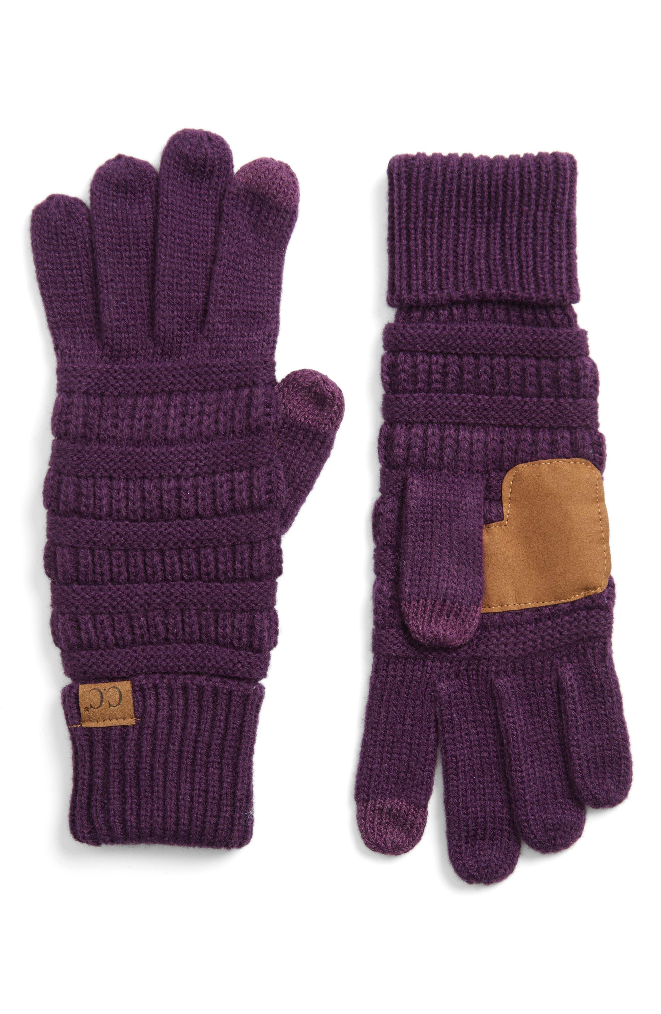 Rib Knit Tech Gloves,                             Main thumbnail 5, color,