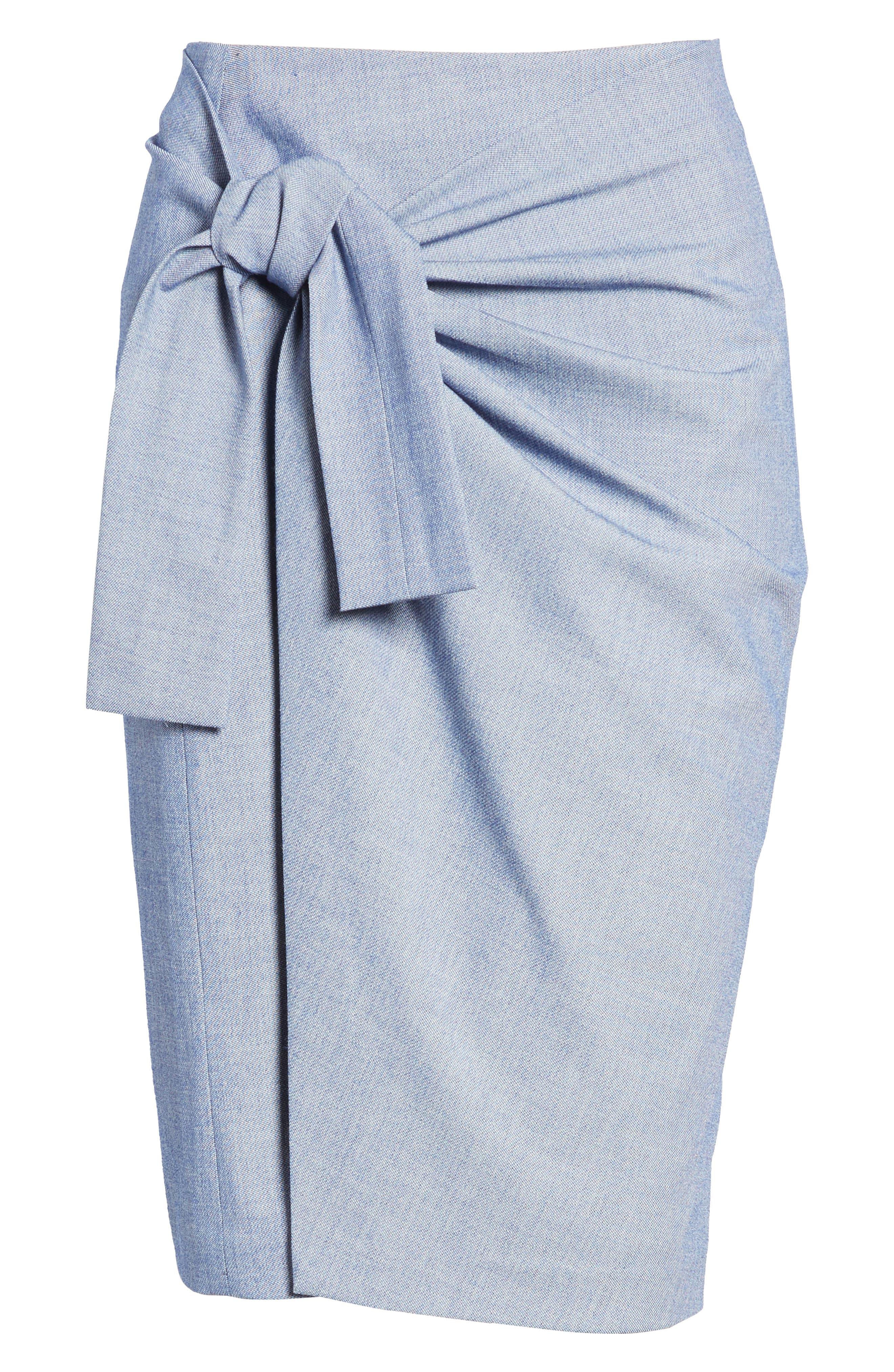 Side Tie Pencil Skirt,                             Alternate thumbnail 6, color,                             400