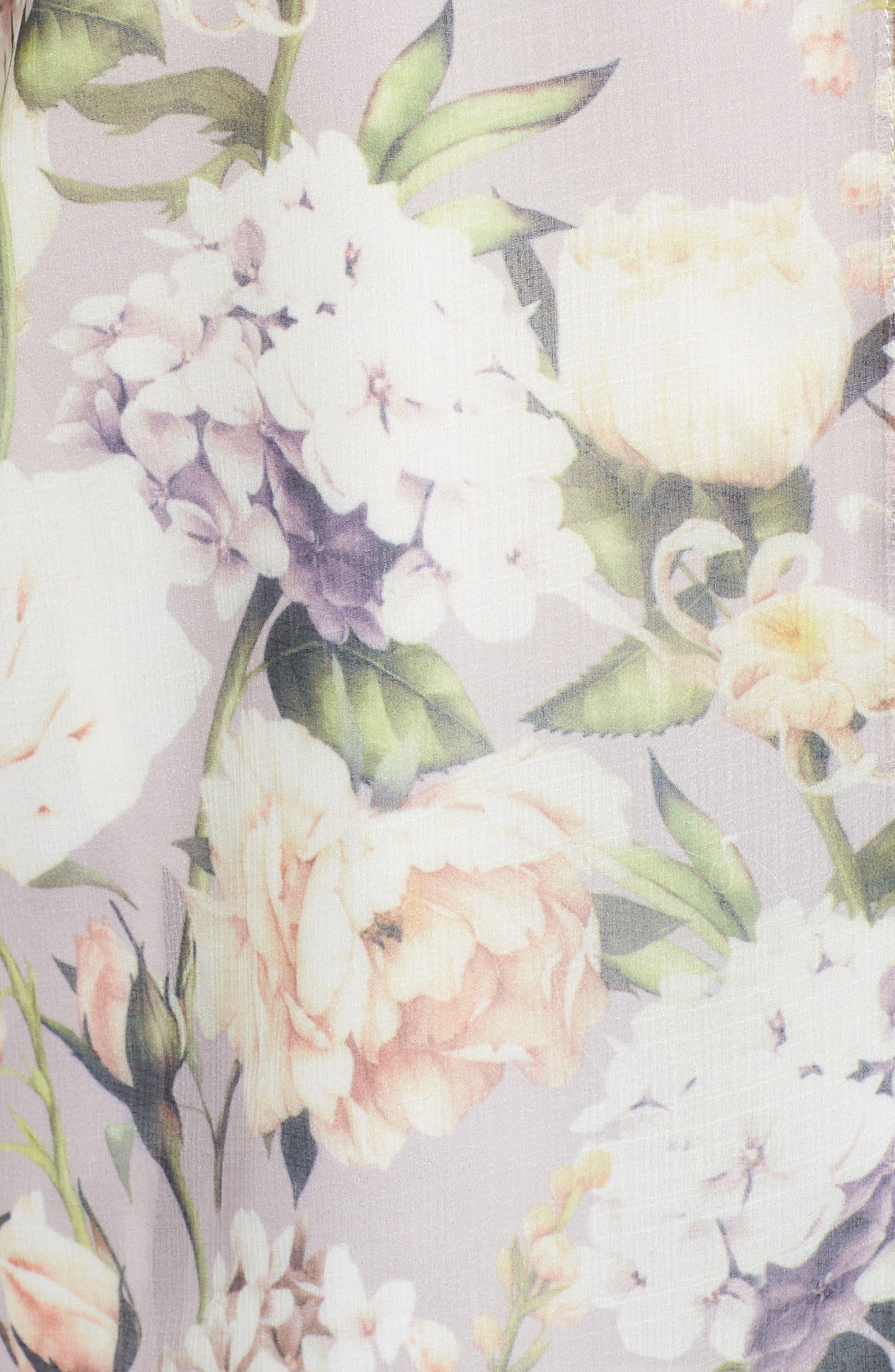 The Talinum Floral Zip Shirt,                             Alternate thumbnail 5, color,                             PURPLE