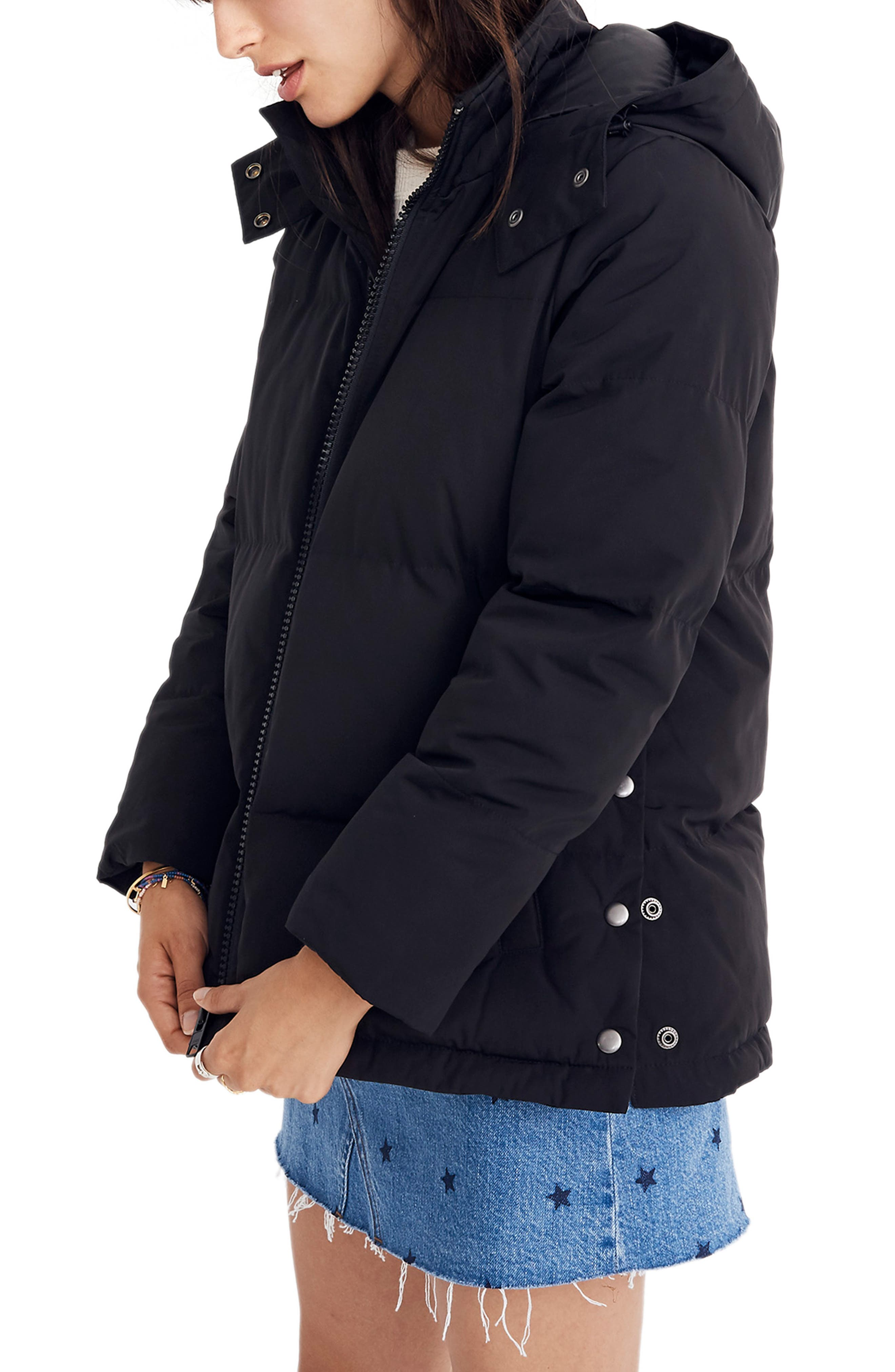 Quilted Puffer Parka,                             Alternate thumbnail 3, color,                             TRUE BLACK